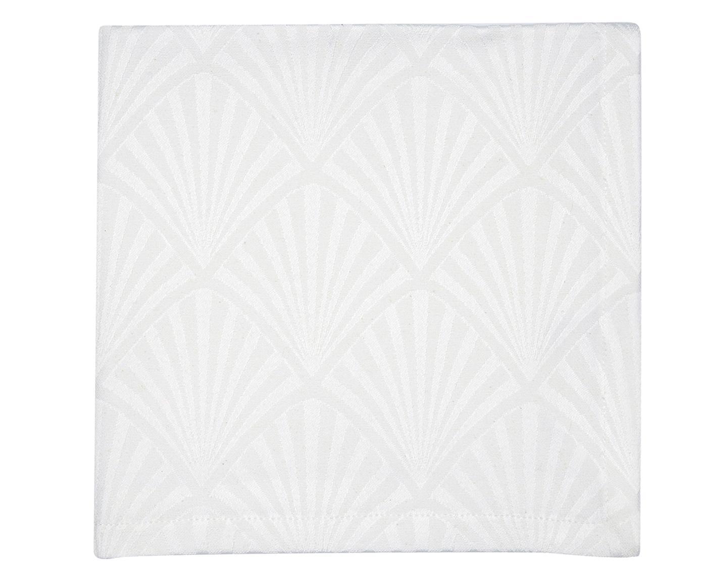 Tovagliolo in cotone con motivo Art Déco Celine 4 pz, Bianco, Larg. 40 x Lung. 40 cm