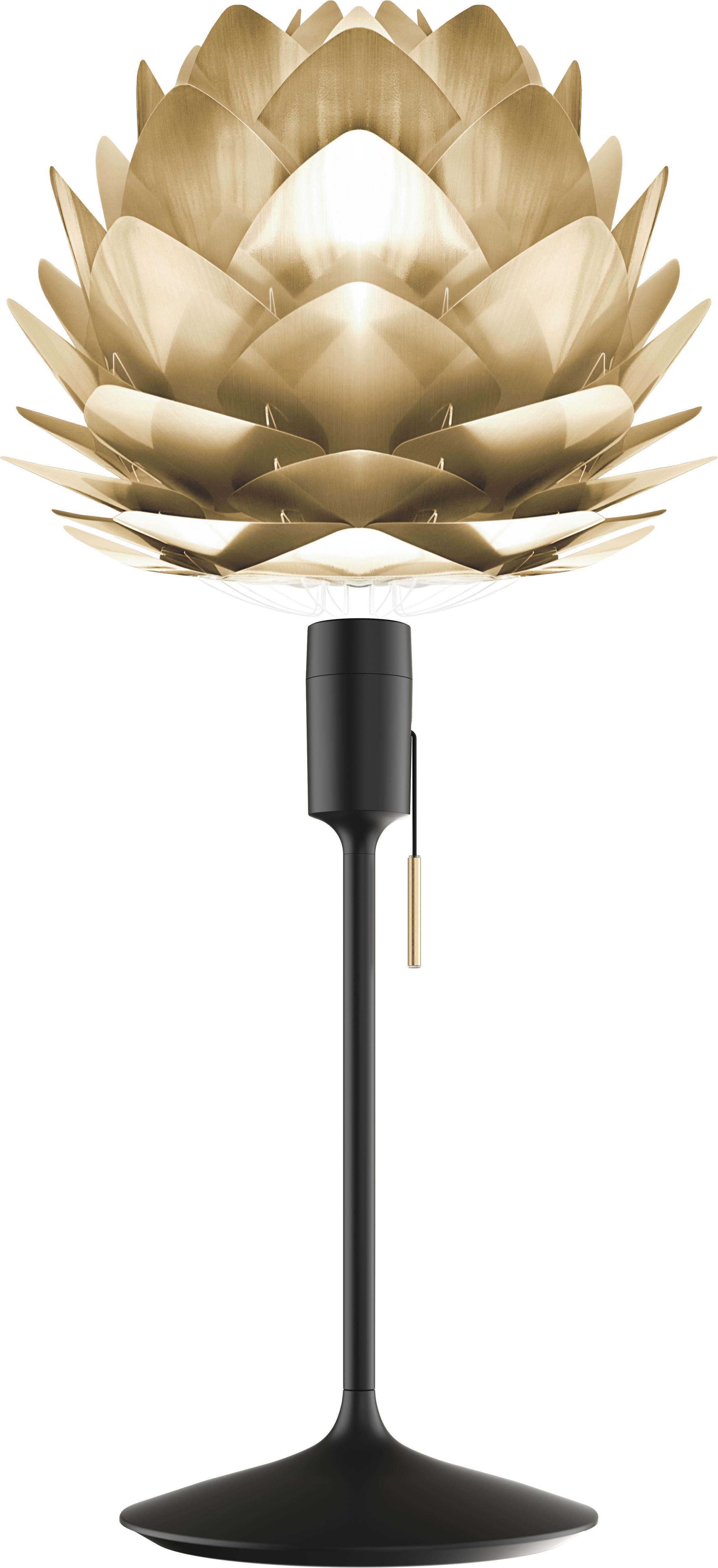 Lampada da tavolo  Silvia, Paralume: polipropilene, policarbon, Base della lampada: alluminio, verniciato, Struttura: acciaio, Ottonato, nero, Ø 32 x Alt. 67 cm