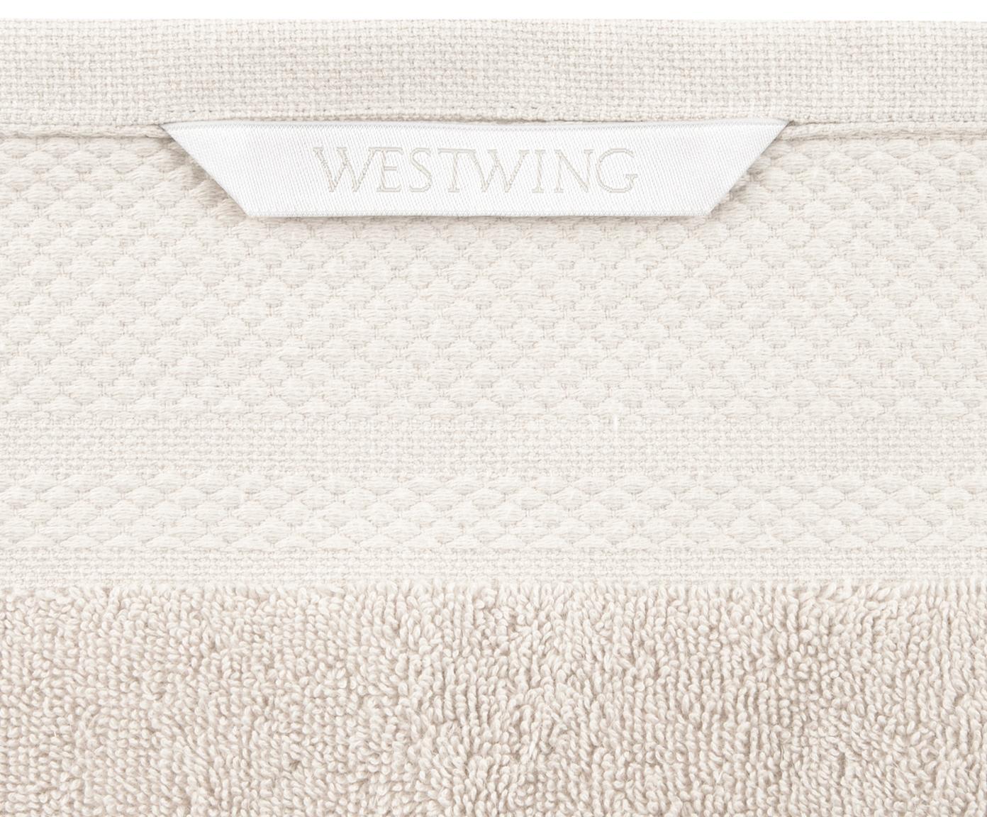 Asciugamano con bordo decorativo Premium, Cotone, qualità pesante 600g/m², Beige, Asciugamano per ospiti Larg. 30 x Lung. 30 cm 2 pz