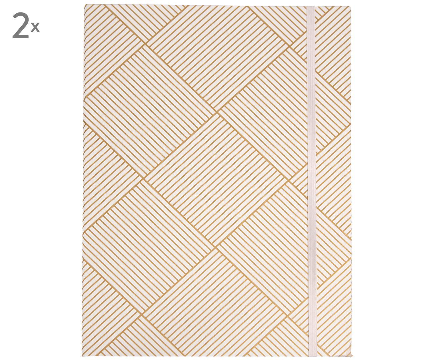 Carpetas Paulina, 2uds., Goma: caucho, Dorado, blanco, An 23 x Al 32 cm