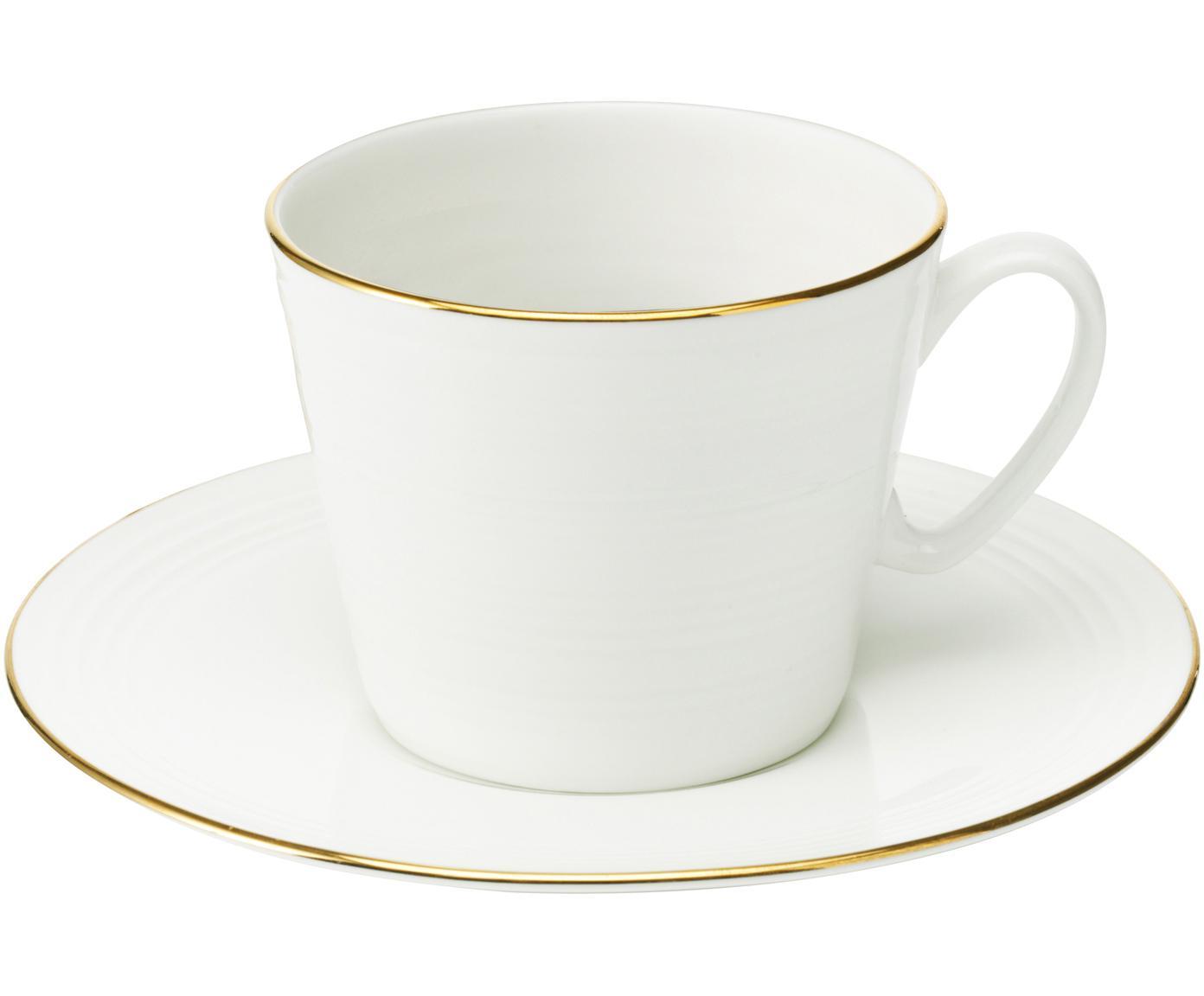 Filiżanka do kawy Cobald, 4 szt., Porcelana, Biały, odcienie złotego, Ø 9 x W 8 cm