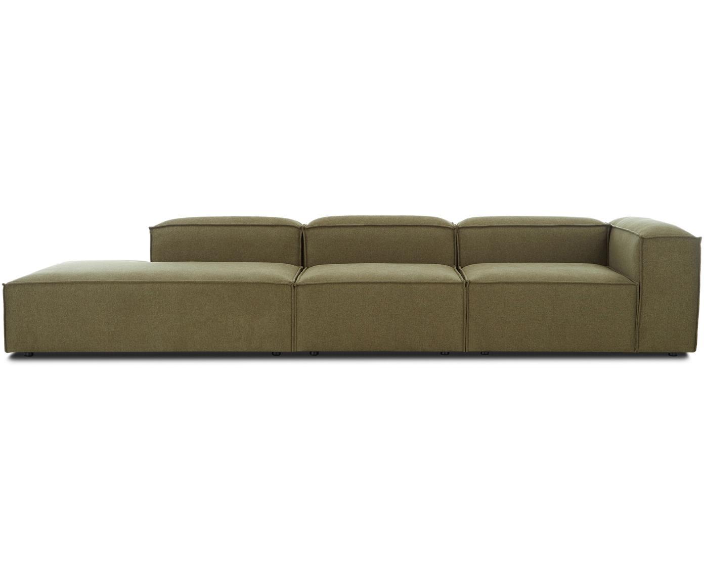 Modulaire XL chaise longue Lennon, Bekleding: 100% polyester, Frame: massief grenenhout, multi, Poten: kunststof, Geweven stof groen, B 357 x D 119 cm