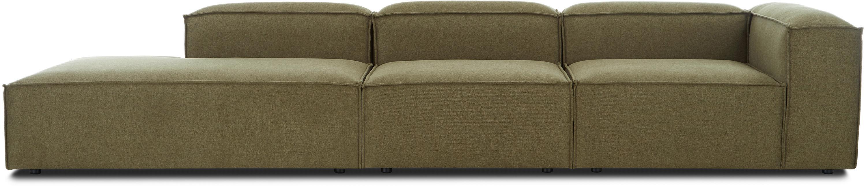 Modulare XL-Ottomane Lennon, Bezug: 100% Polyester 35.000 Sch, Gestell: Massives Kiefernholz, Spe, Füße: Kunststoff, Webstoff Grün, B 357 x T 119 cm