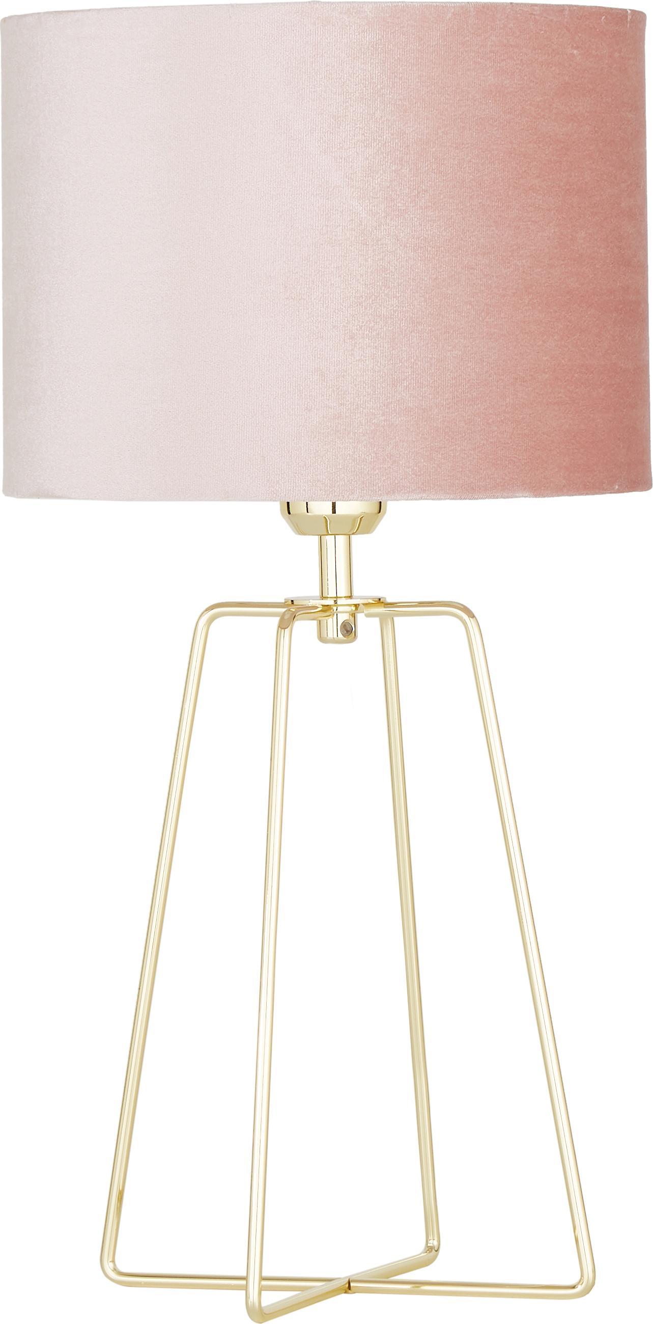 Lámpara de mesa de terciopelo Karolina, Pantalla: terciopelo, Cable: plástico, Rosa palo, latón brillante, Ø 25 x Al 49 cm