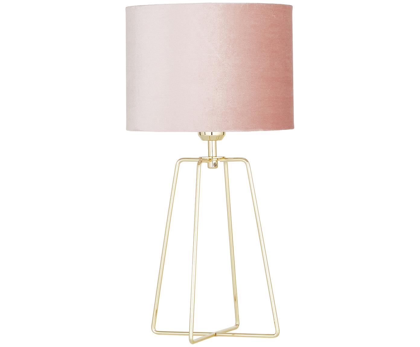Tafellamp Miranda, Lampenkap: fluweel, Lampvoet: vermessingd metaal, Lampenkap: oudroze. Lampvoet: glanzend messingkleurig. Snoer: transparant, Ø 25 x H 49 cm