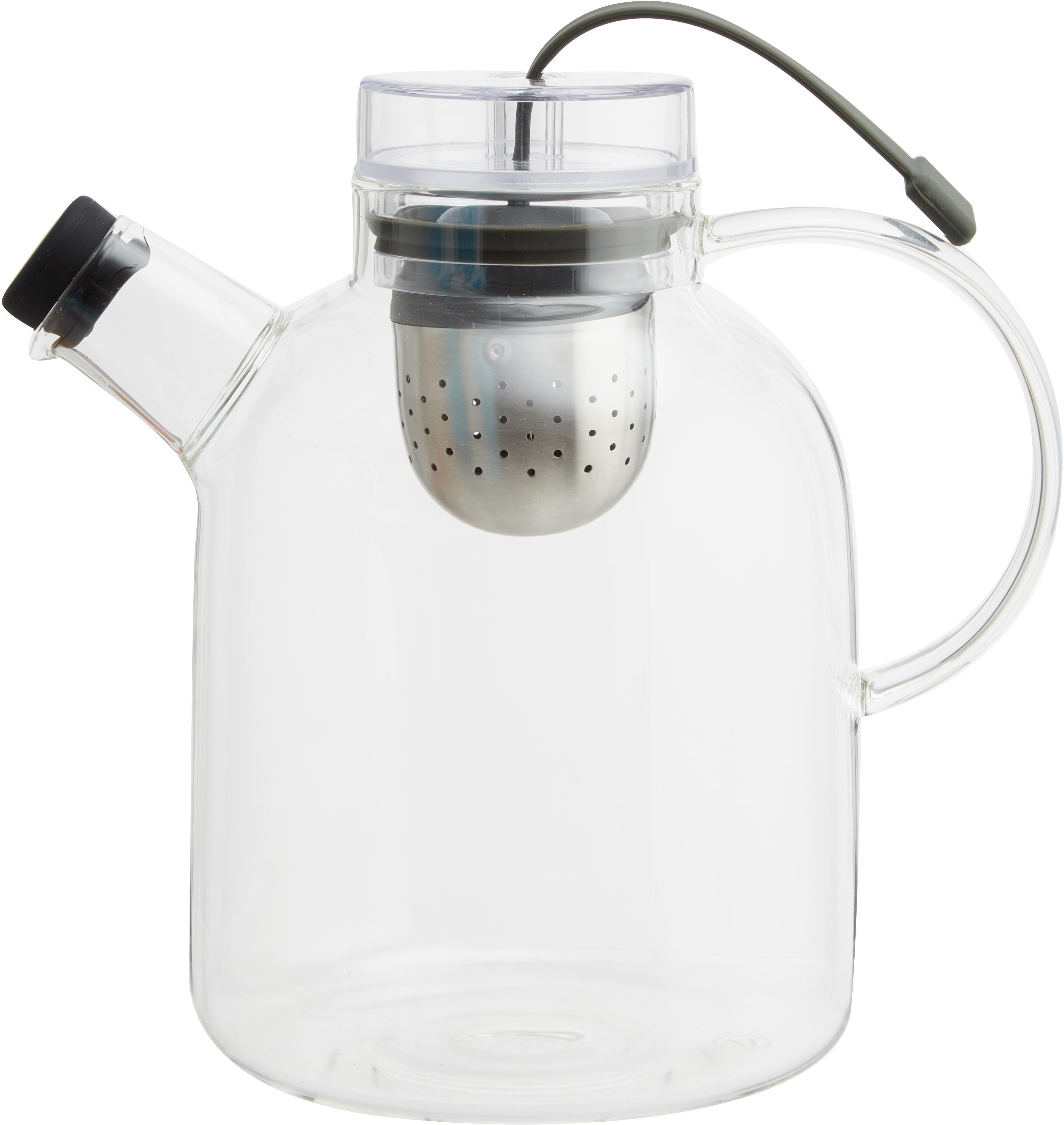 Design Teekanne Kettle aus Glas mit Tee-Ei, Kanne: Glas, Transparent, 1.5 L