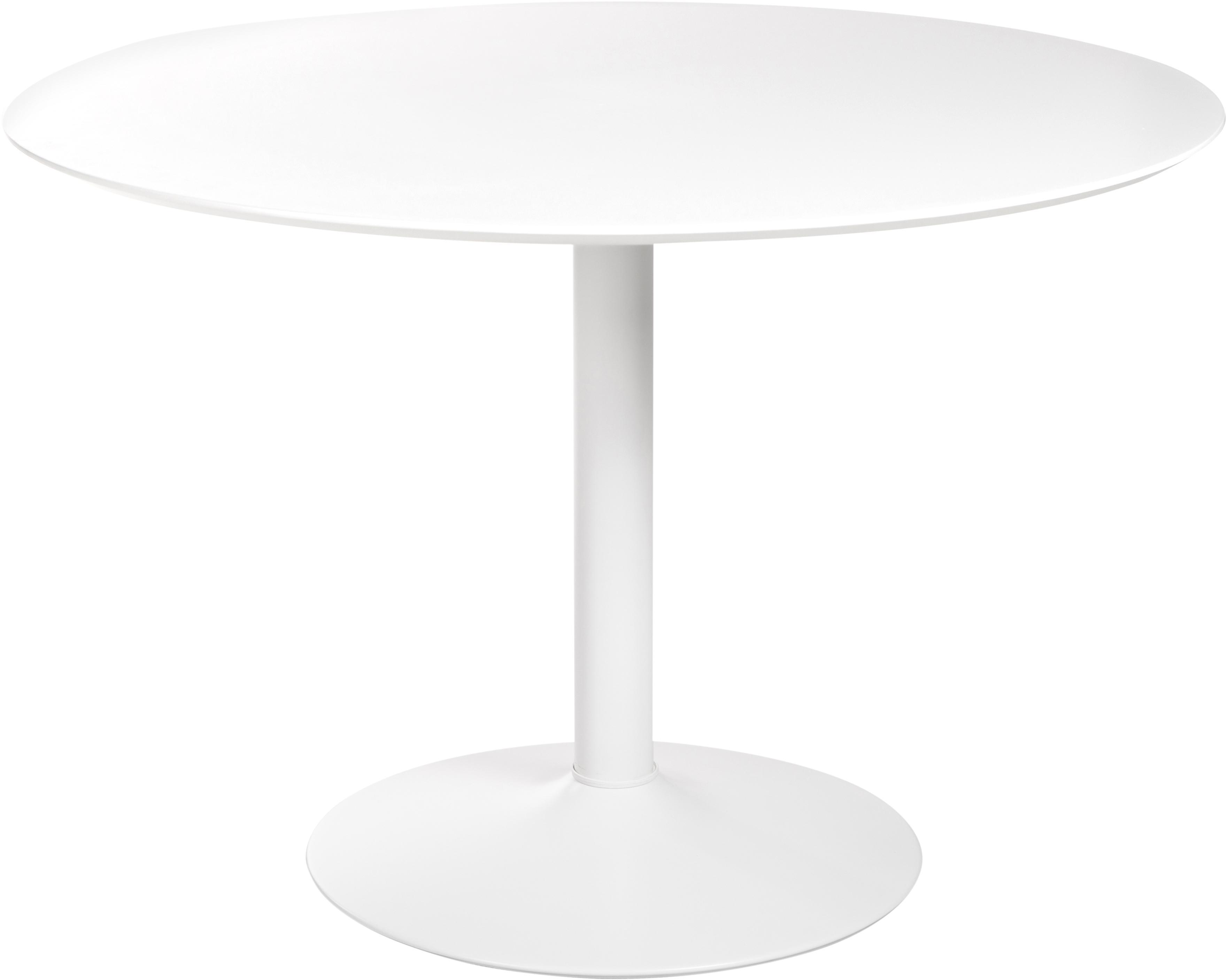 Mesa de comedor Ibiza, Tablero de fibras de densidad media (MDF), metal, Blanco, Ø 110 x Al 74 cm