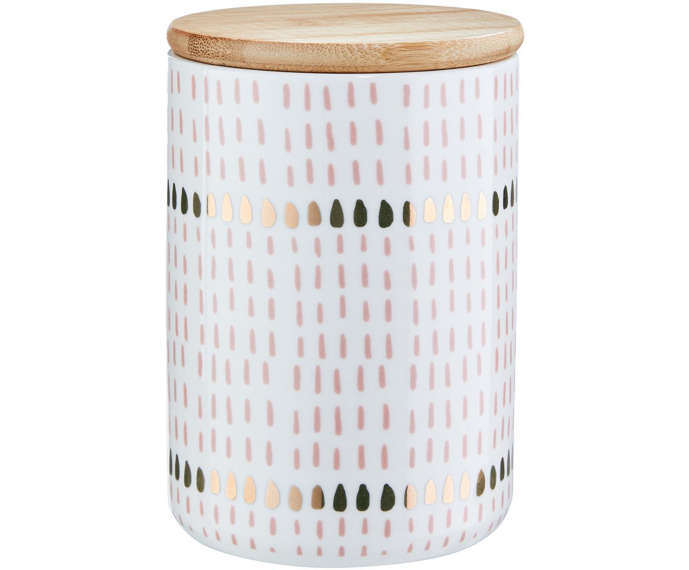 Aufbewahrungsdose Drops, Dose: Dolomit, Deckel: Bambus, Silikon, Rosa, Ø 10 x H 14 cm