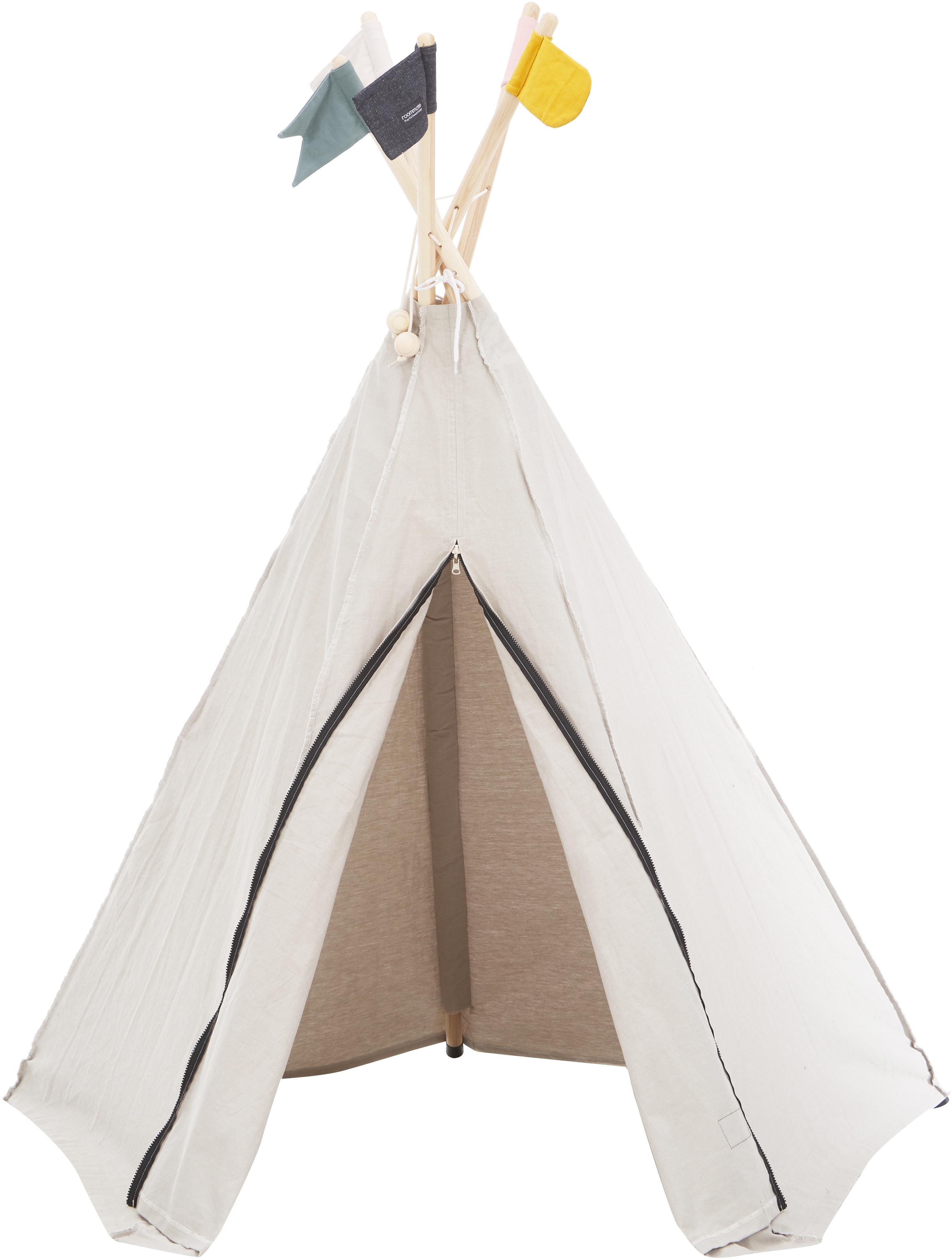 Tipi dla dzieci z bawełny organicznej Hippie, Bawełna organiczna, Szary, matowy, S 135 x W 135 cm