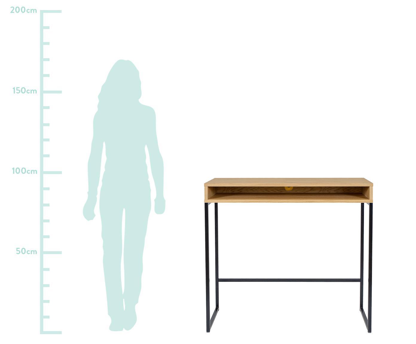 Schmaler Steh-Schreibtisch Frame, Korpus: Mitteldichte Holzfaserpla, Beine: Metall, pulverbeschichtet, Eichenholz, B 100 x T 35 cm