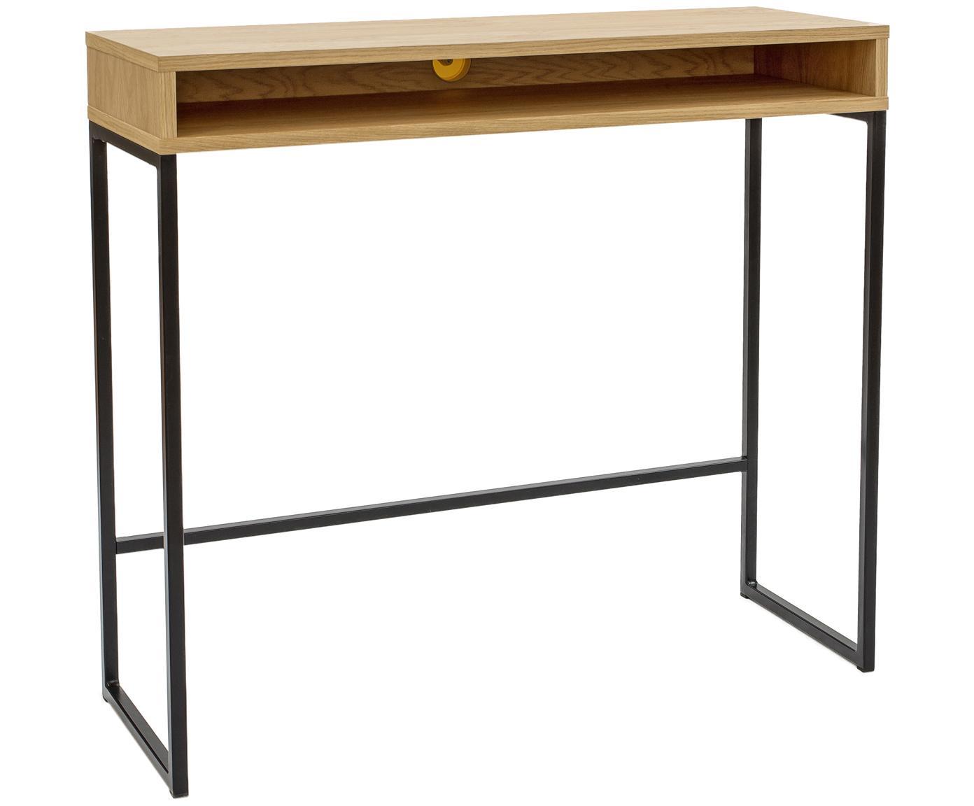 Smal staand bureau Frame, Tafelblad: MDF met eikenhoutfineer, Poten: gepoedercoat metaal, Eikenhoutkleurig, B 100 x D 35 cm