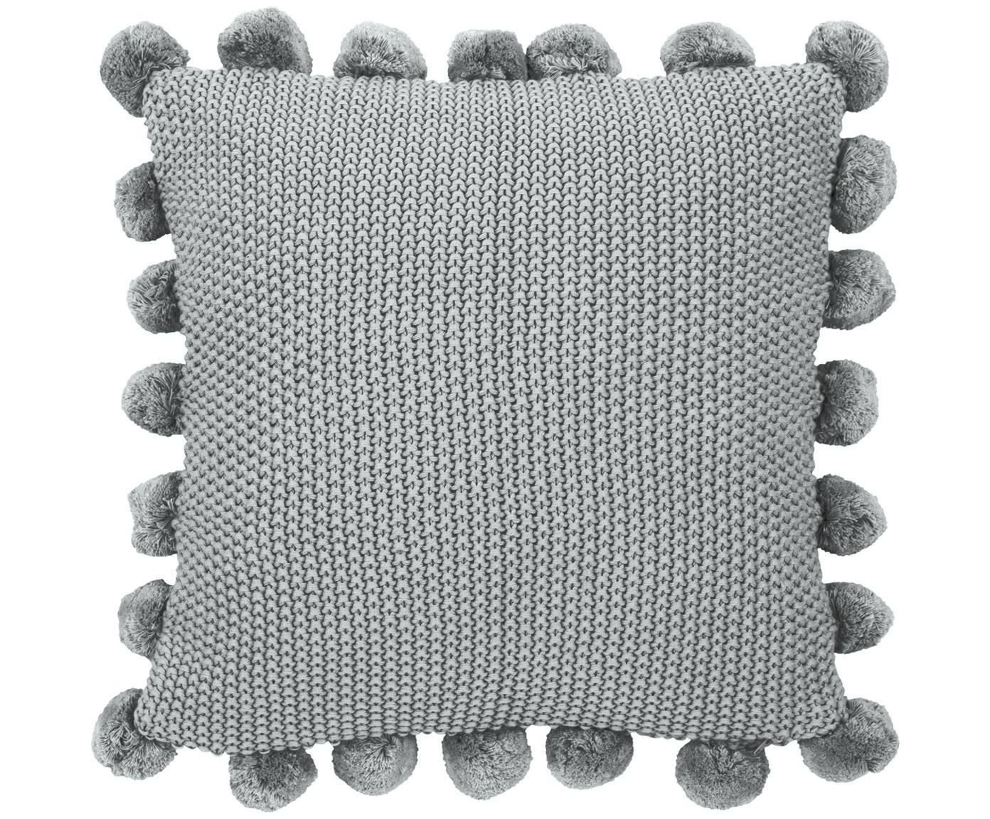 Federa arredo fatta a maglia con pompon Molly, 100% cotone, Grigio chiaro, Larg. 40 x Lung. 40 cm