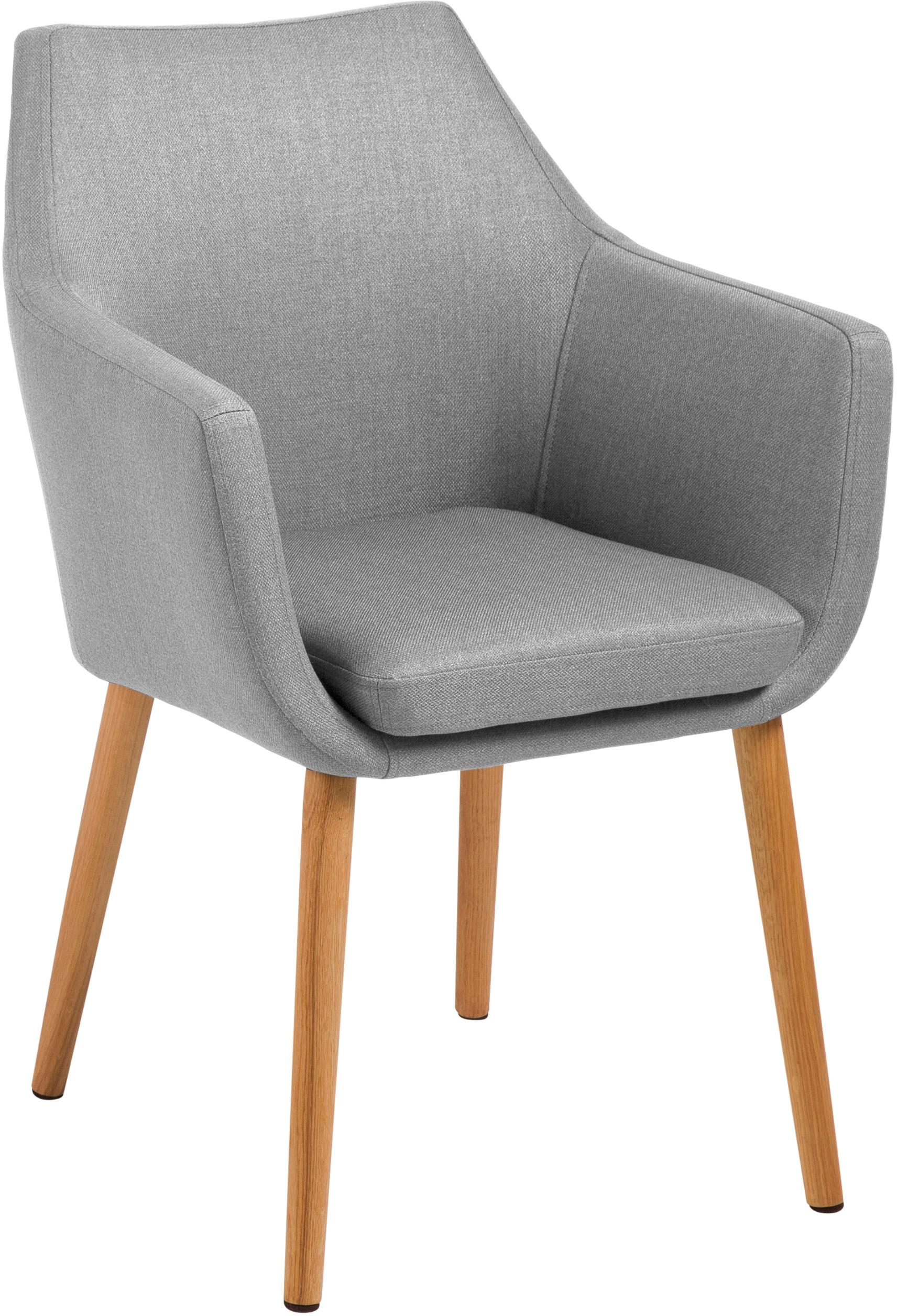 Armstoel Nora in Scandi design, Bekleding: 100% polyester, Poten: eikenhout, Bekleding: lichtgrijs. Frame: eikenhoutkleurig, 58 x 84 cm