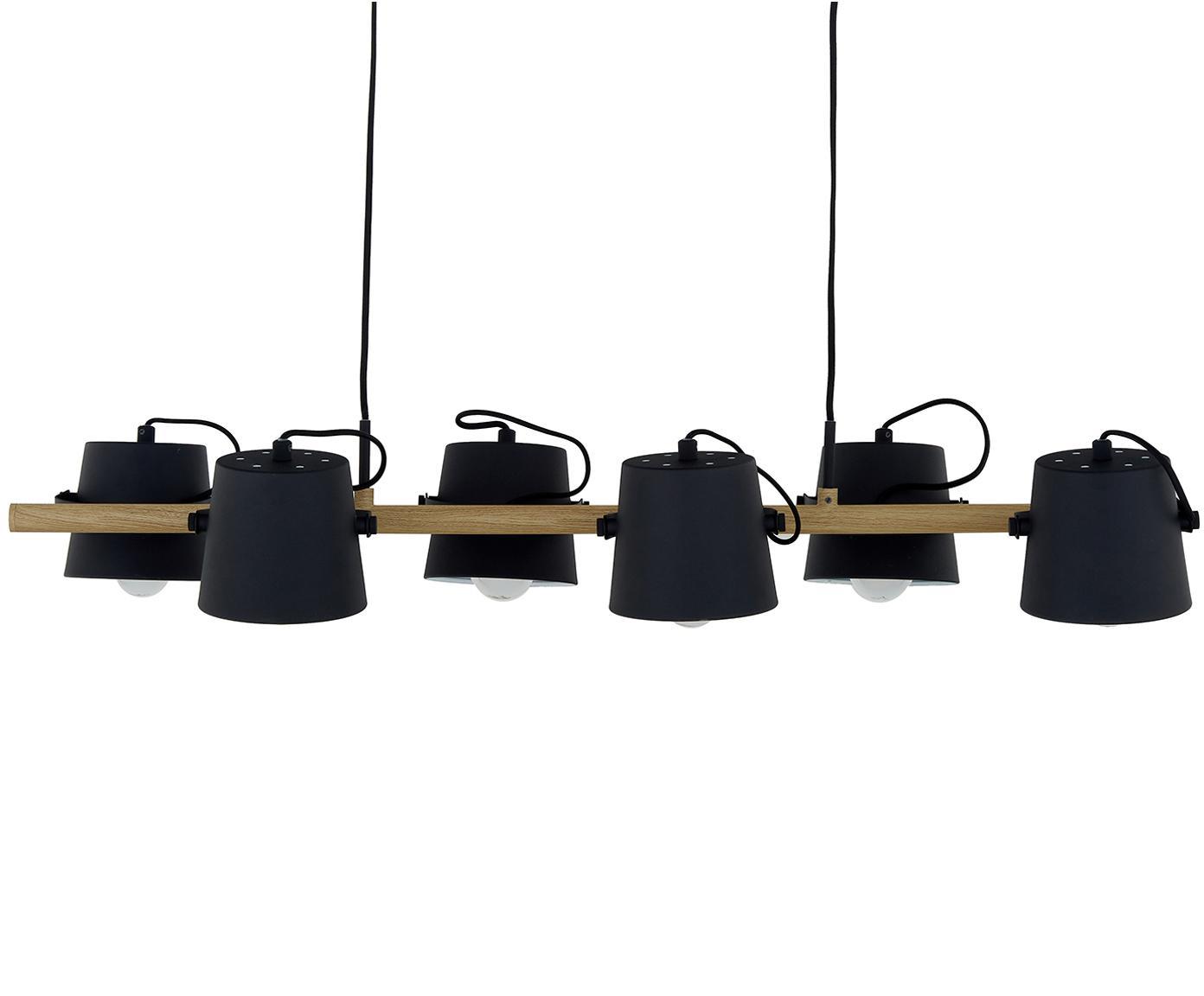 Lampa wisząca z metalu Espresso, Drewno jesionowe, czarny, S 100 x W 12 cm
