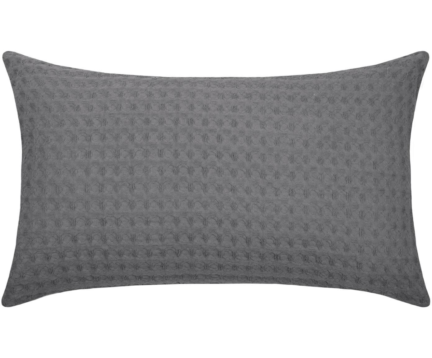 Waffelpiqué-Kissen Gopher in Grau, mit Inlett, Bezug: Baumwolle, Grau, 30 x 50 cm