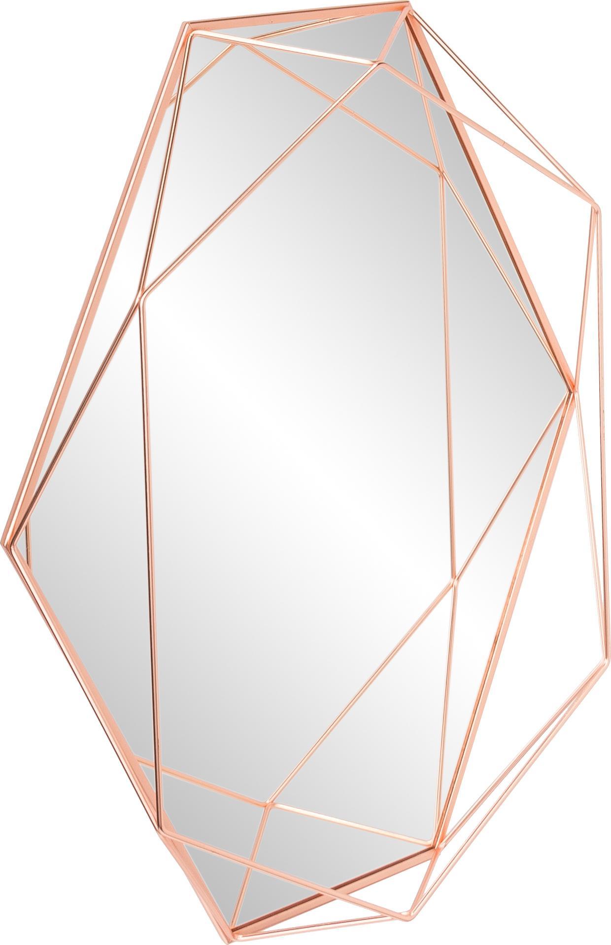 Ovaler Wandspiegel Prisma mit Kupferrahmen, Rahmen: Stahl, verkupfert, Spiegelfläche: Spiegelglas, Kupfer, 43 x 57 cm