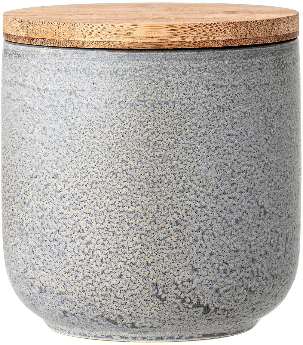 Handgefertigte Aufbewahrungsdose Kendra, Deckel: Bambus, Silikon, Grau, Beigetöne, Ø 13 x H 13 cm