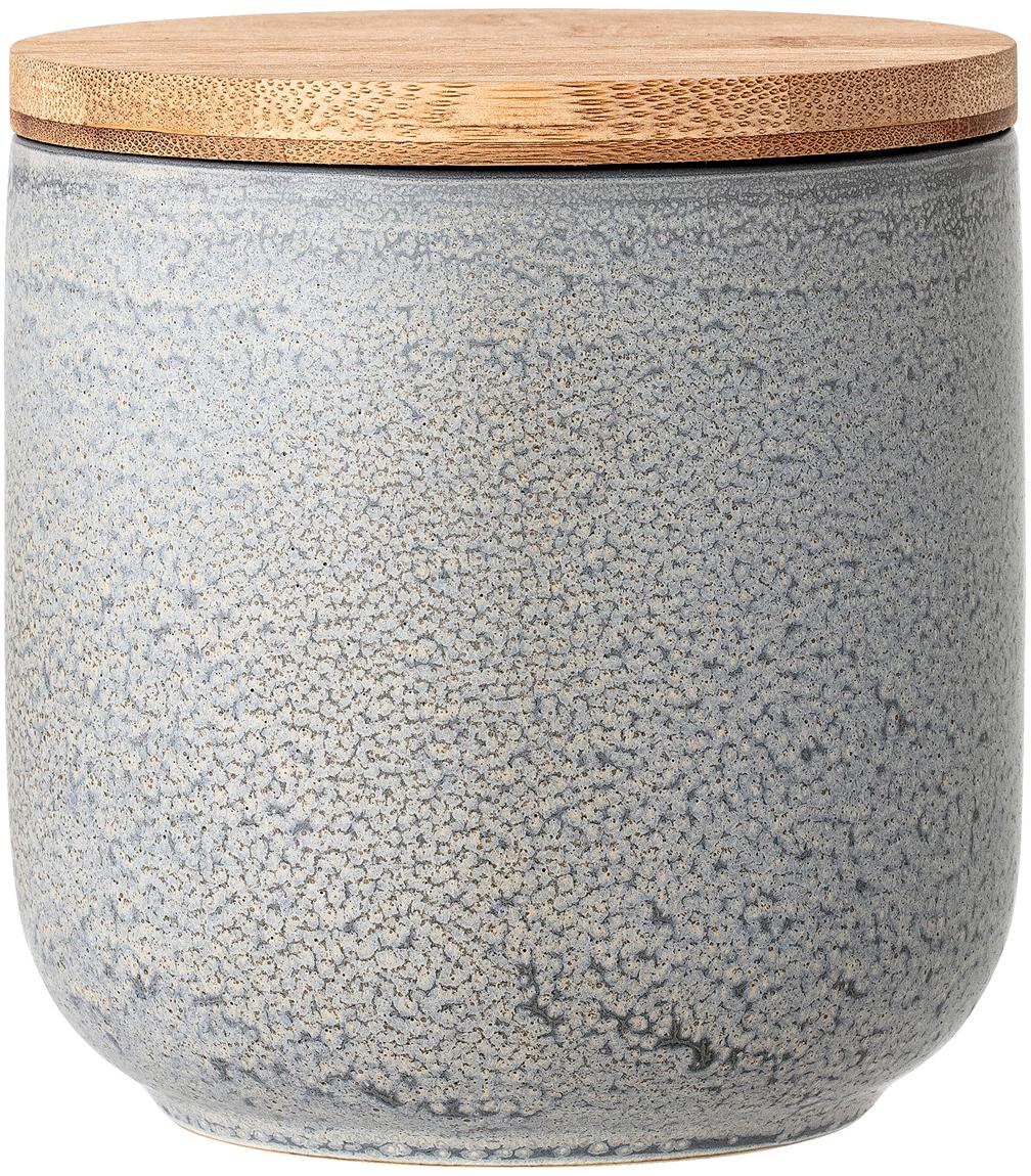 Handgemaakte opbergpot Kendra, Deksel: bamboehout, silicone, Grijs, beigetinten, Ø 13 x H 13 cm