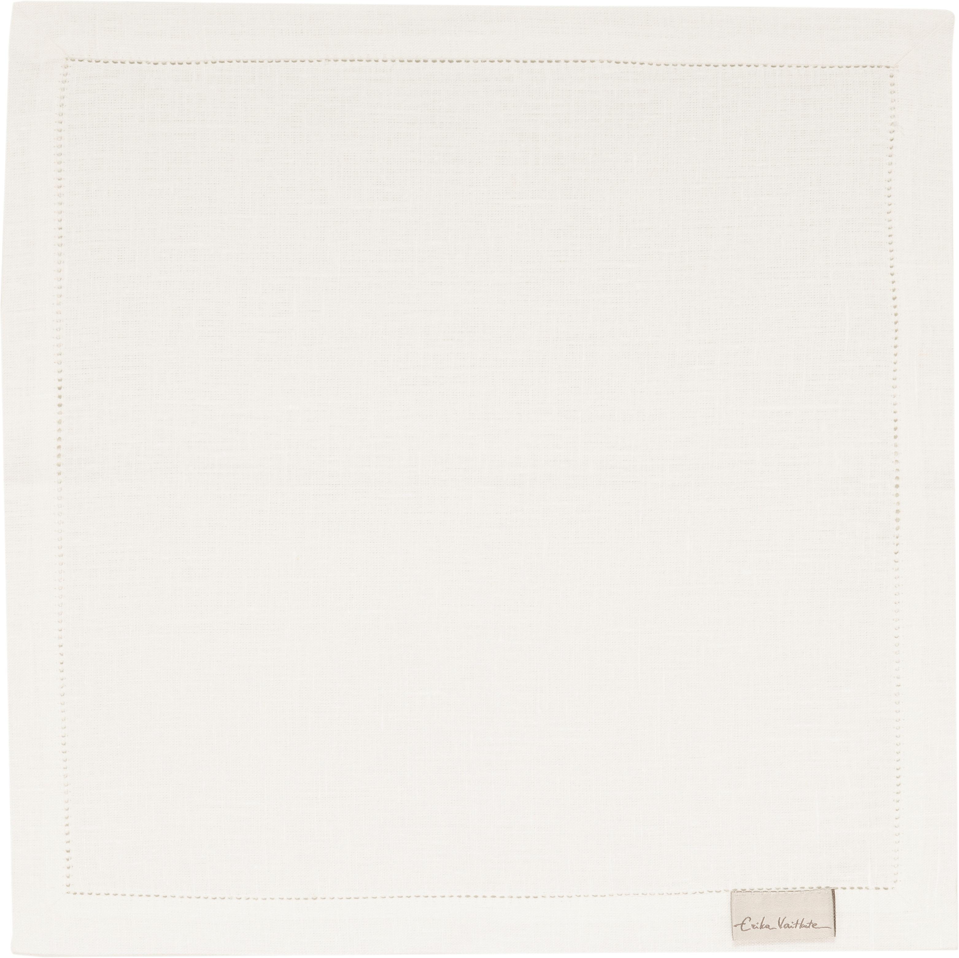 Sevilletas de lino Alanta, 6pzas., Blanco crema, An 42 x L 42 cm