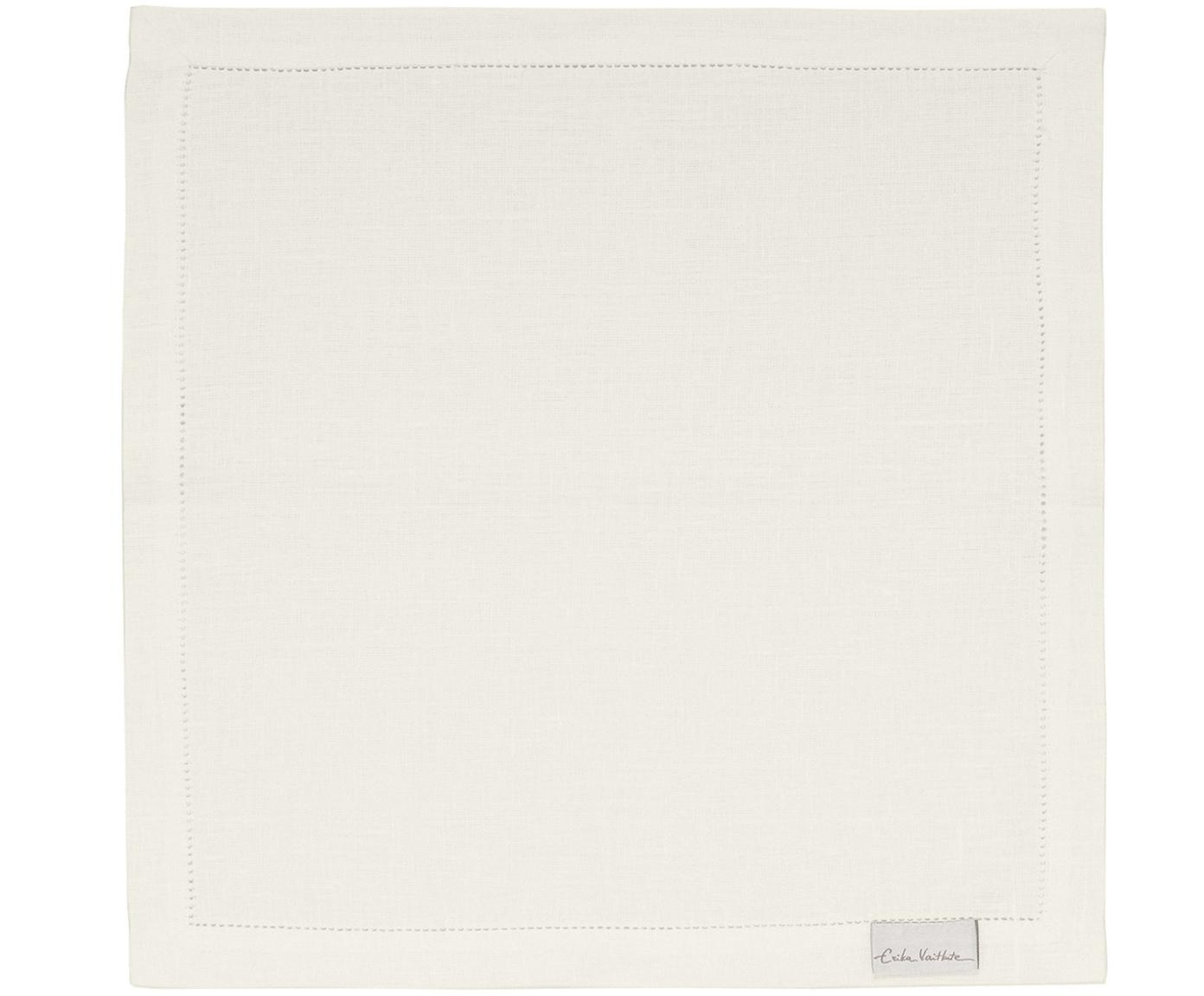 Linnen servetten Alanta met open zoom, 6 stuks, Crèmewit, 42 x 42 cm