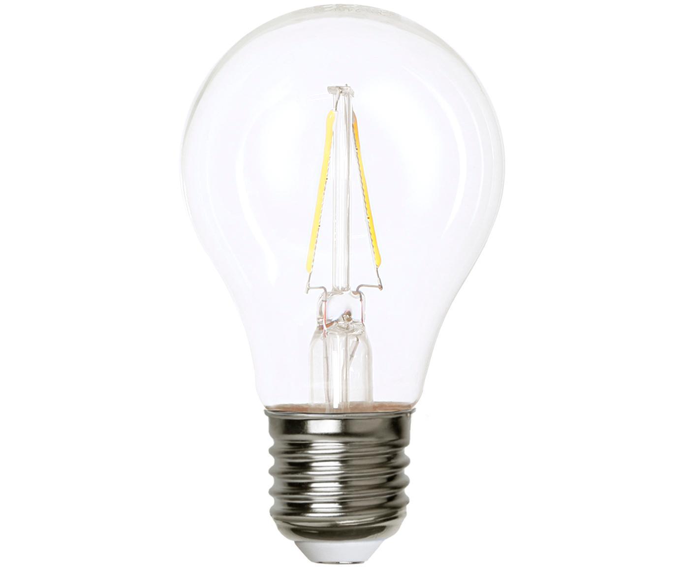 LED Leuchtmittel Airtight Two (E27/2W), 5 Stück, Leuchtmittelschirm: Glas, Leuchtmittelfassung: Kupfer, vernickelt, Transparent, Nickel, Ø 6 x H 11 cm
