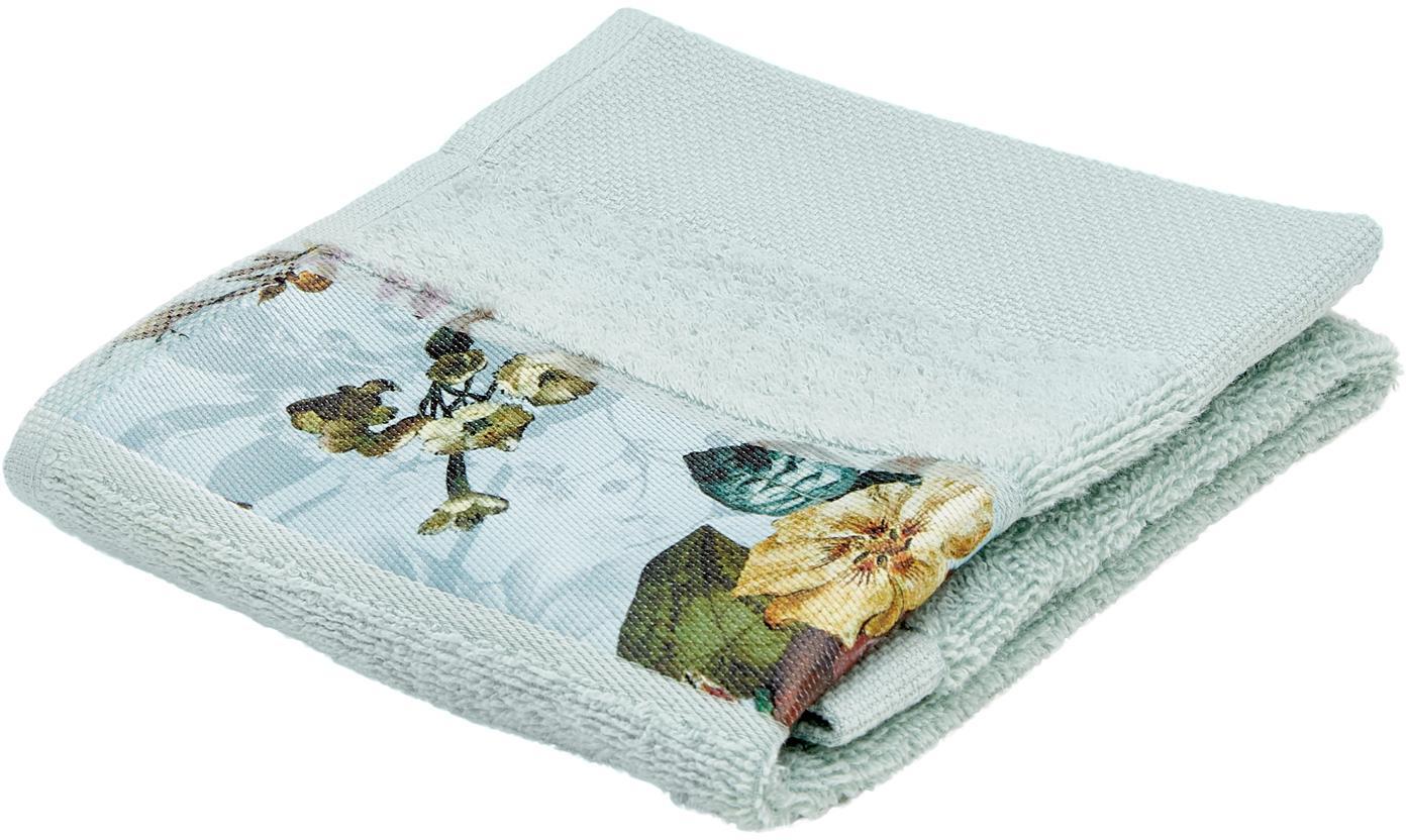 Handdoek Fleur met bloemenrand, 97% katoen 3% polyester, Mintgroen, multicolour, Gastendoekje