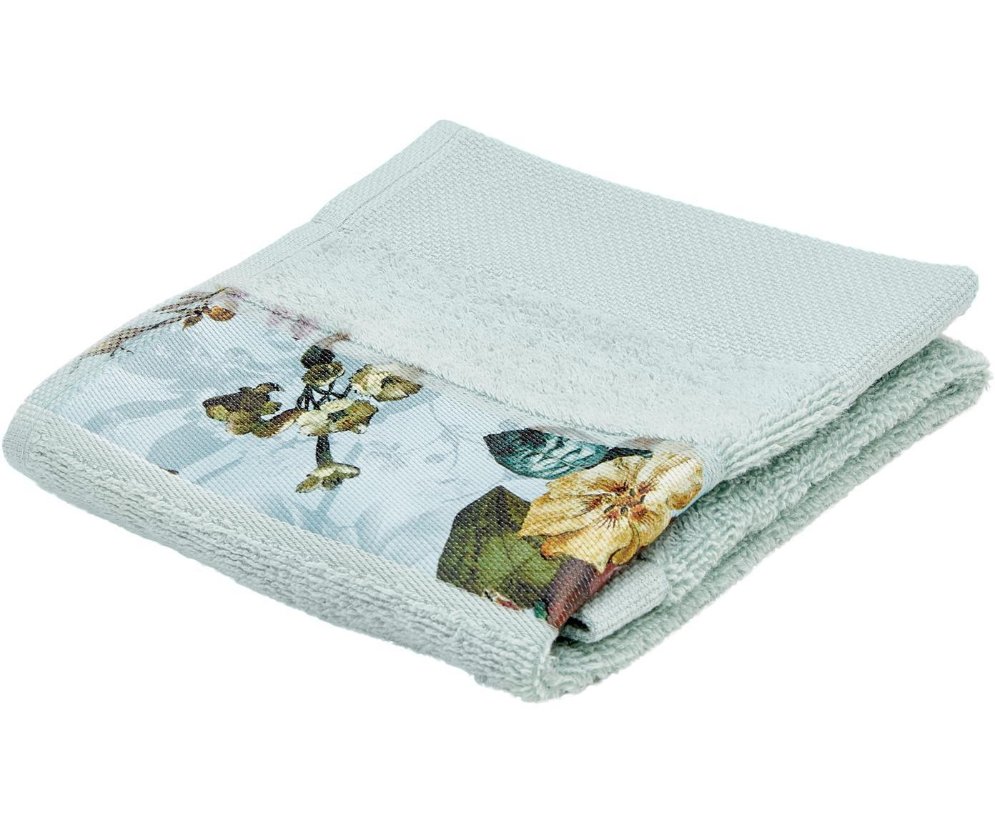 Handtuch Fleur mit Blumen-Bordüre, 97% Baumwolle, 3% Polyester, Mintgrün, Mehrfarbig, Gästehandtuch