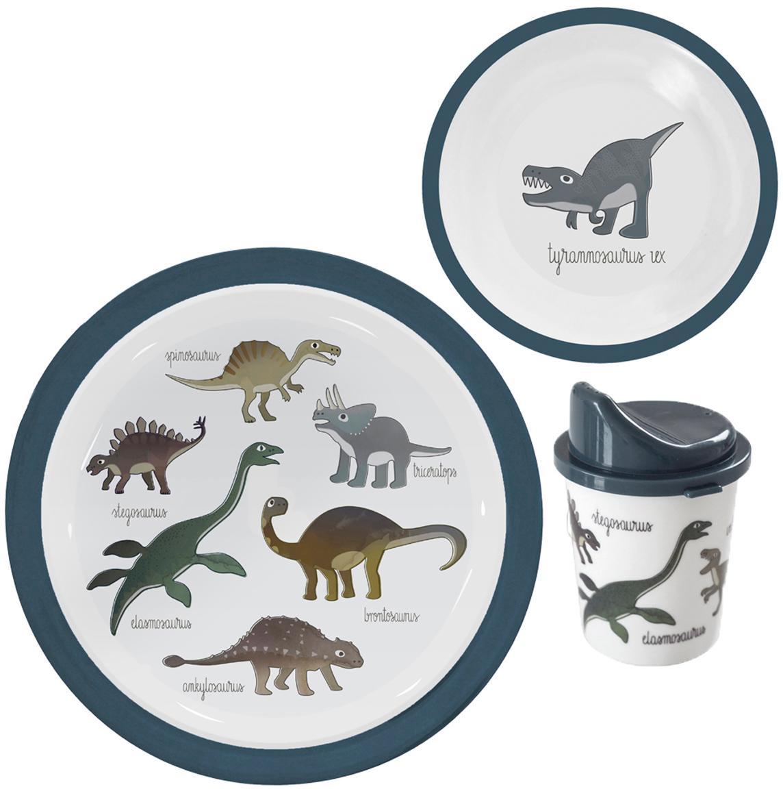 Komplet naczyń Dino, 3 elem., Melamina, tworzywo sztuczne, Wielobarwny, Komplet z różnymi rozmiarami