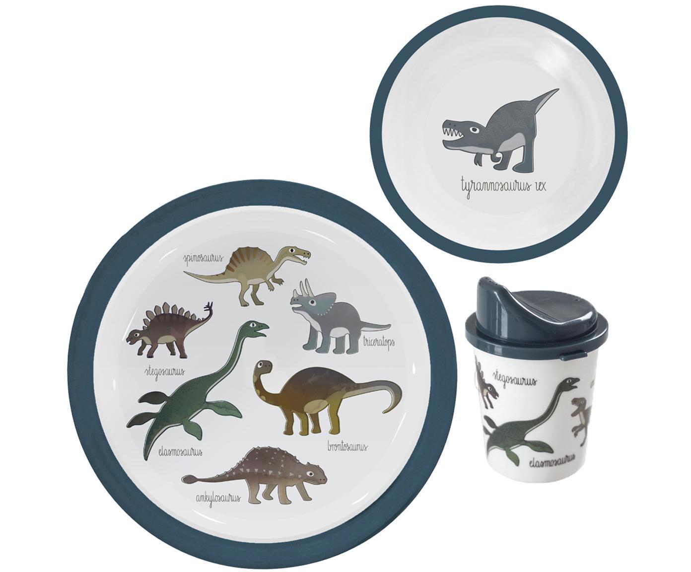 Geschirr-Set Dino, 3-tlg., Melamin, Kunststoff, Mehrfarbig, Sondergrößen