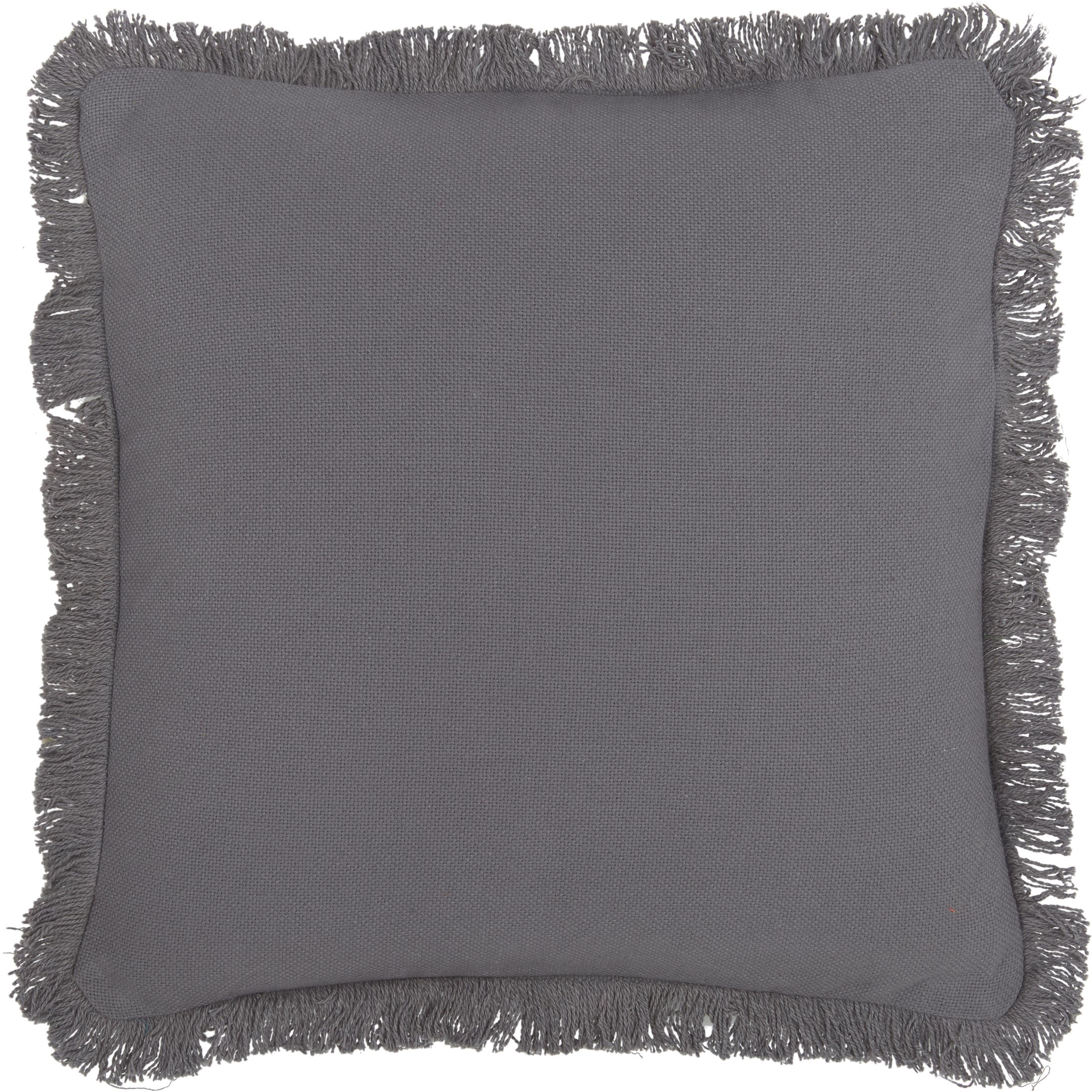 Cojín con flecos Prague, con relleno, Parte delantera: 100%algodón de tejido gr, Parte trasera: 100%algodón, Gris antracita, An 40 x L 40 cm