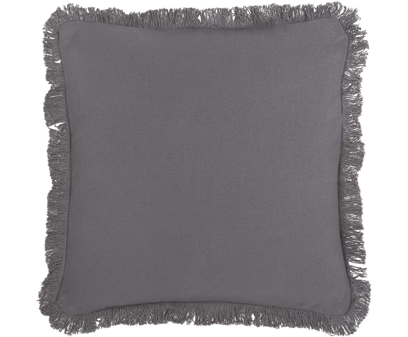 Cuscino con frange e imbottitura Prague, Retro: cotone, Antracite, Larg. 40 x Lung. 40 cm