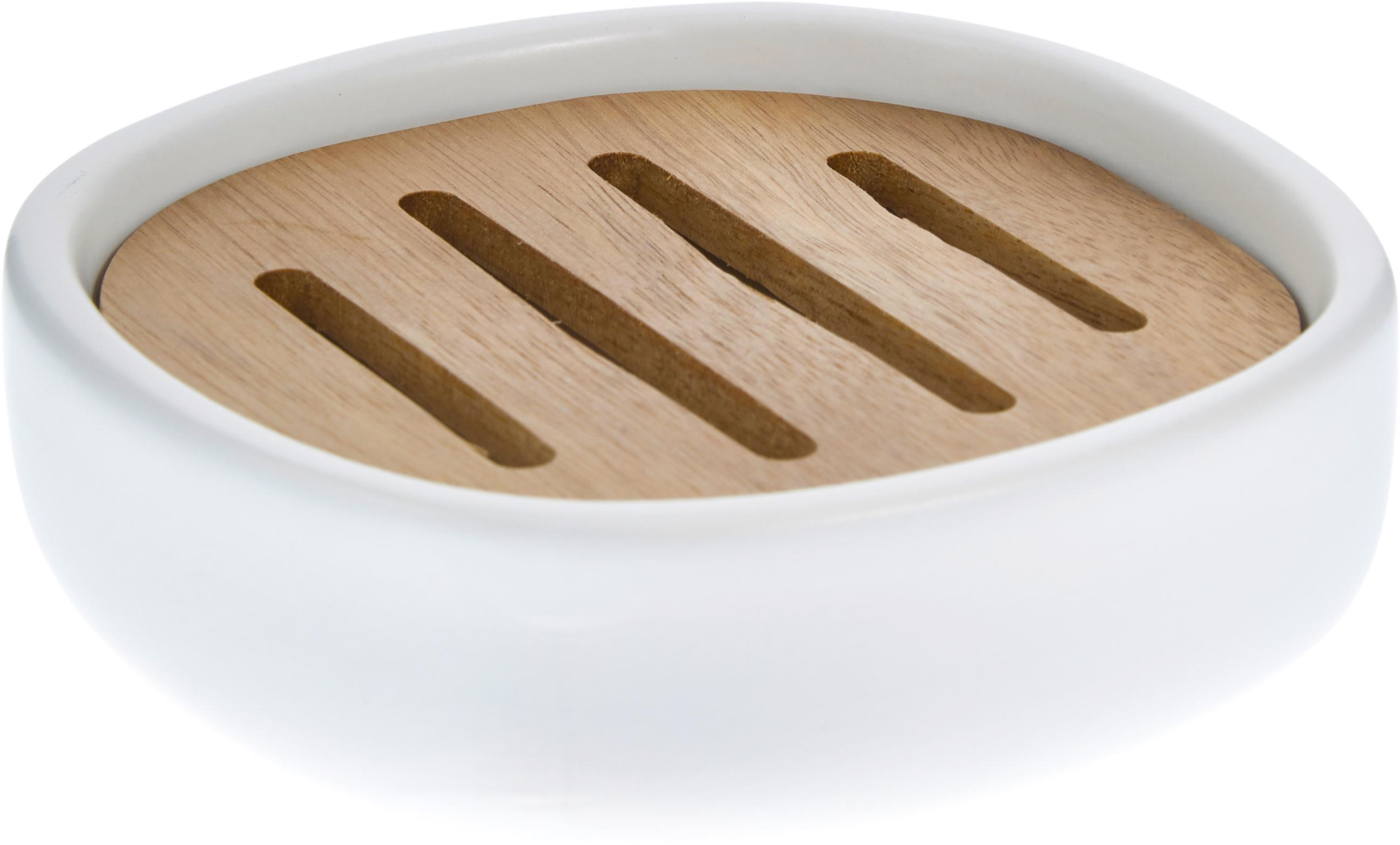 Keramik-Seifenschale Wili mit Akazienholz-Einsatz, Weiß, Akazienholz, Ø 13 x H 4 cm