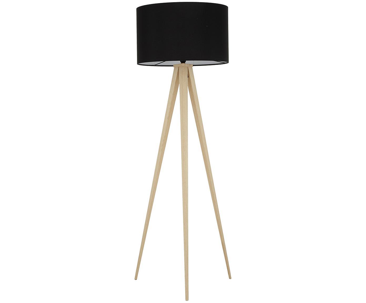 Stehlampe Jake, Lampenschirm: Baumwolle, Lampenfuß: Metall mit Echtholzfurnie, Lampenschirm: SchwarzLampenfuß: Holzfurnier, Ø 50 x H 154 cm