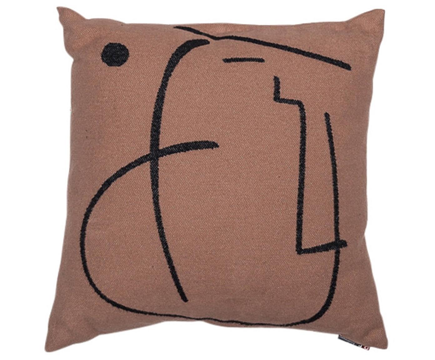 Kissen Nova Punkt mit abstraktem Print, mit Inlett, Bezug: 85% Baumwolle, 8% Viskose, Braun, Schwarz, 50 x 50 cm