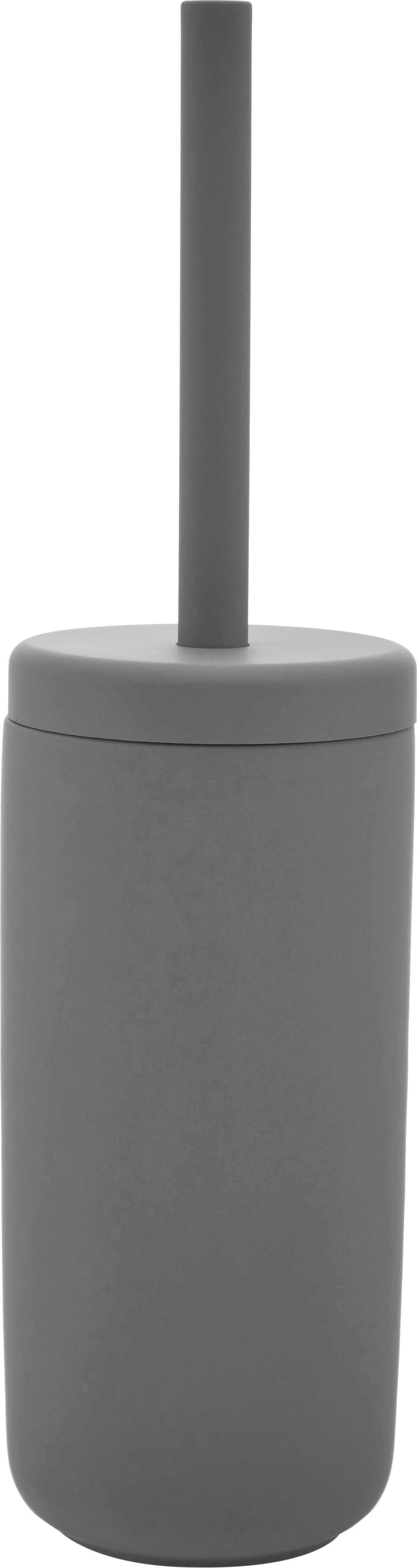 Scopino con contenitore in terracotta Omega, Contenitore: terracotta rivestita con , Manico: materiale sintetico, Grigio opaco, Ø 10 x Alt. 39 cm