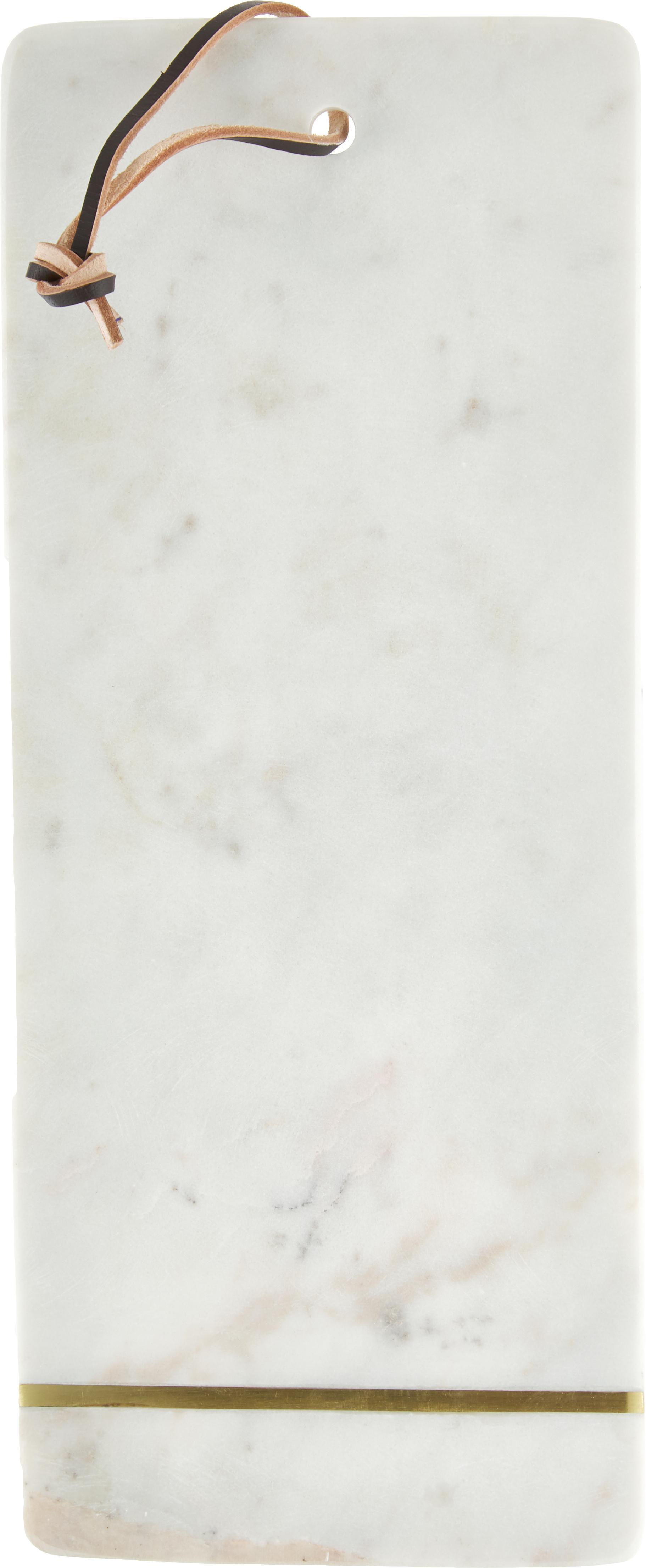 Marmeren snijplank Strip, Ophanglus: leer, Wit, goudkleurig, B 37 x D 15 cm