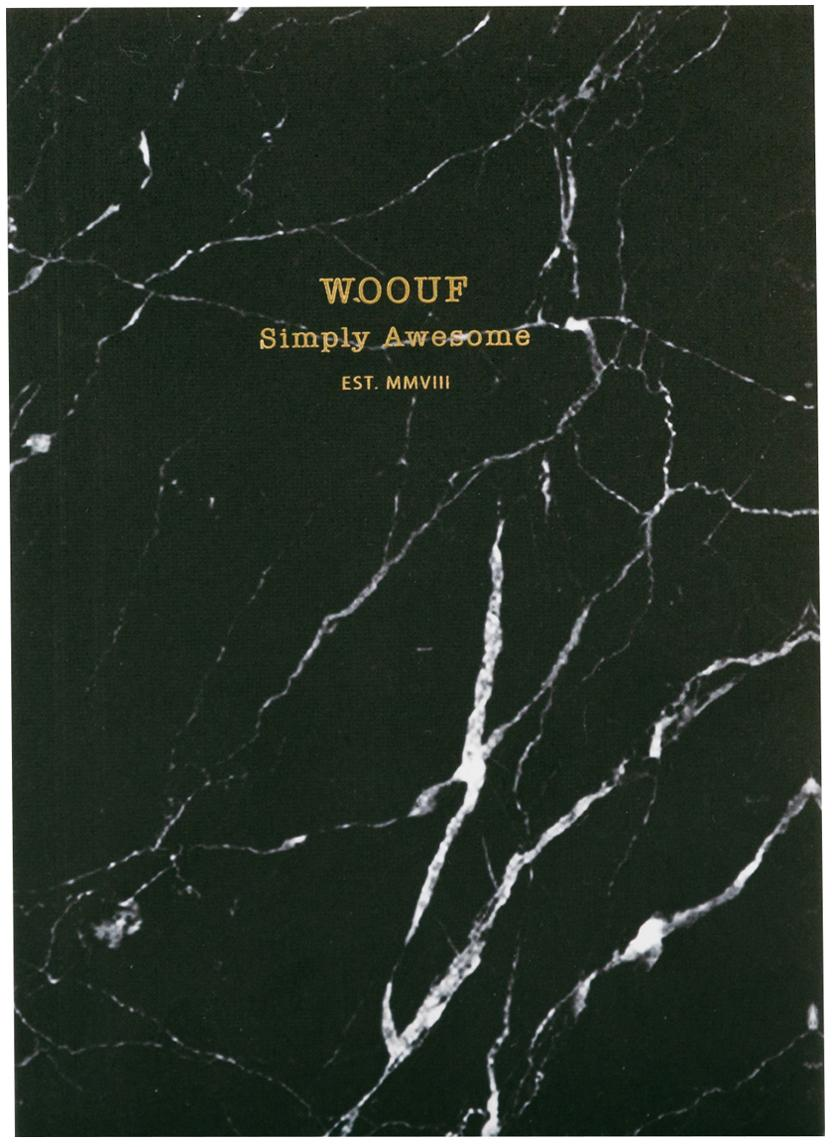Cuaderno Black Marble, Papel, Negro, An 11 x Al 15 cm