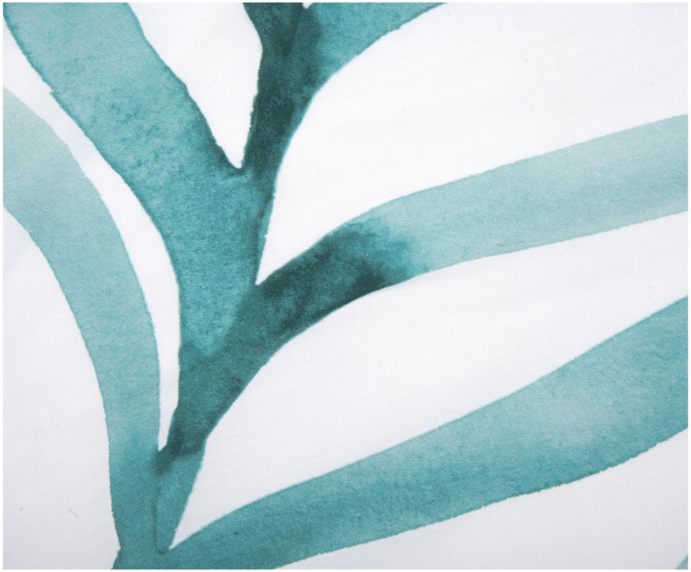 Baumwollperkal-Bettwäsche Francine mit Blattmuster, Webart: Perkal Fadendichte 180 TC, Vorderseite: Grün, WeißRückseite: Weiß, 135 x 200 cm + 1 Kissen 80 x 80 cm