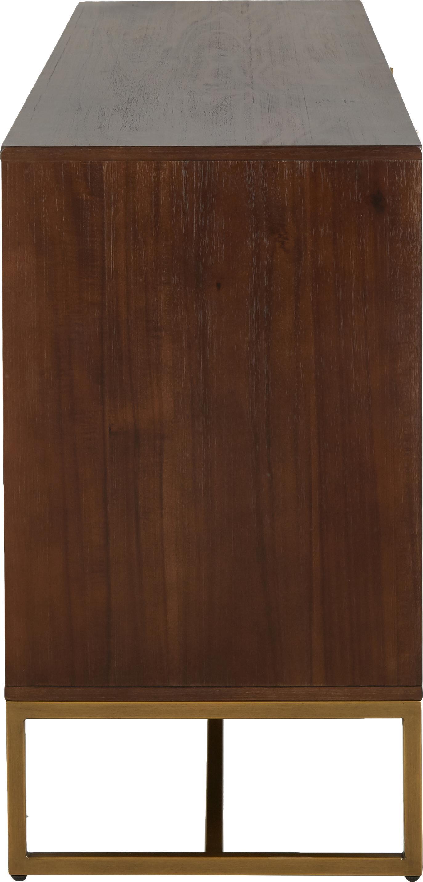Aparador en acacia Class, Estructura: tablero de fibra de densi, Acacia, latón, An 180 x Al 80 cm