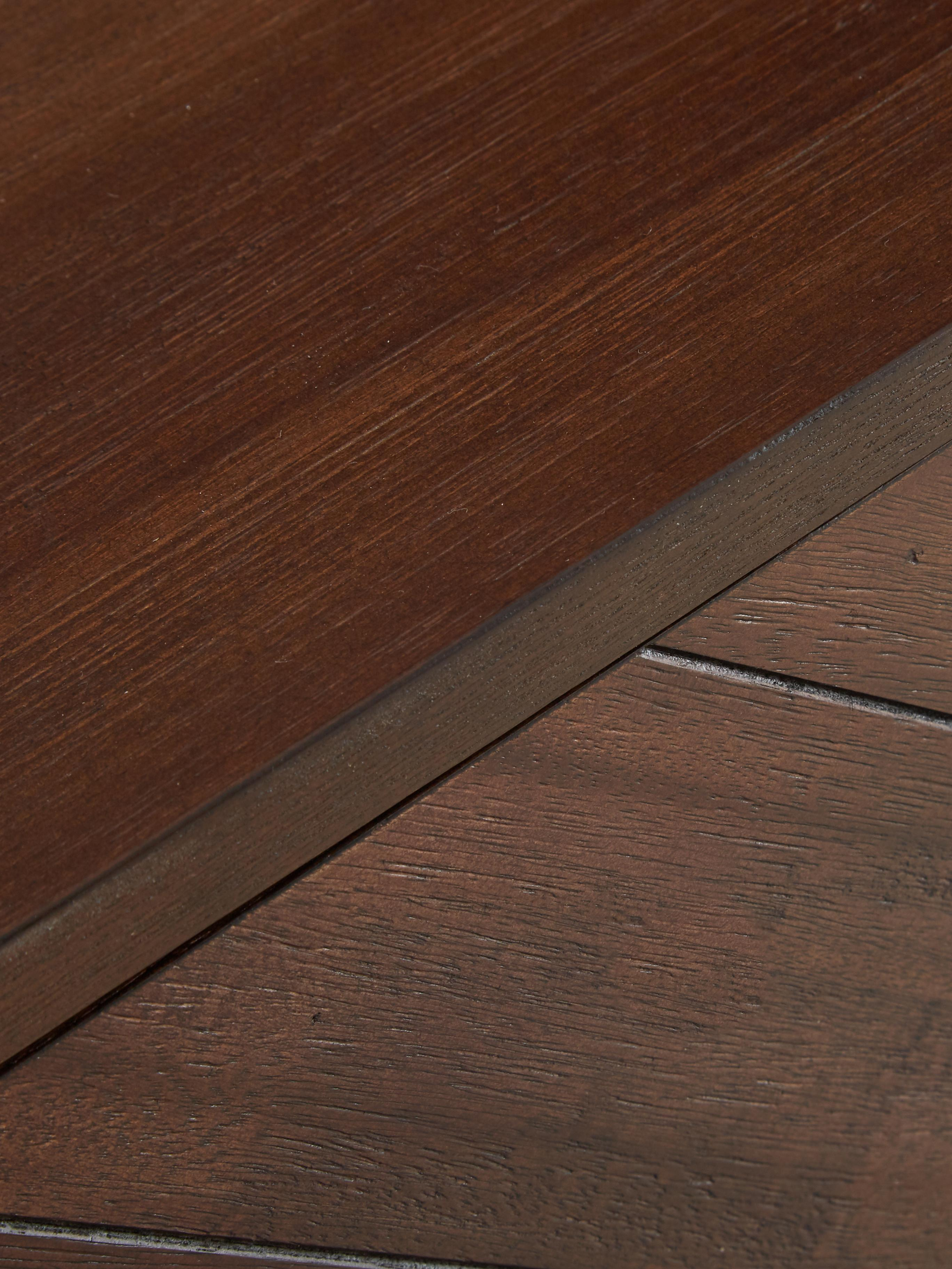Fischgrät-Sideboard Class mit Akazienholzfurnier, Korpus: Mitteldichte Holzfaserpla, Akazienholz, Messingfarben , 180 x 80 cm