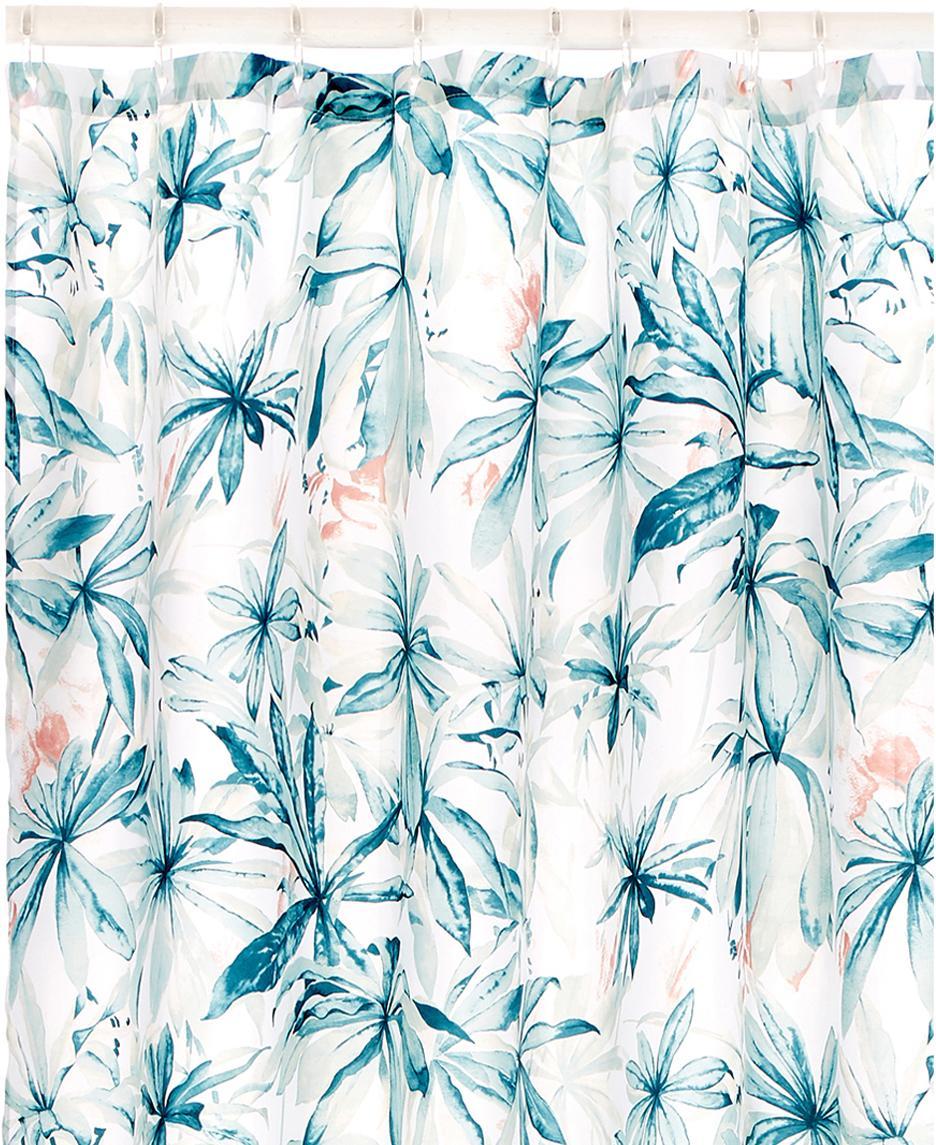 Douchegordijn Foglia met tropisch patroon, 100% polyester Waterafstotend, niet waterdicht, Wit, multicolour, 180 x 200 cm