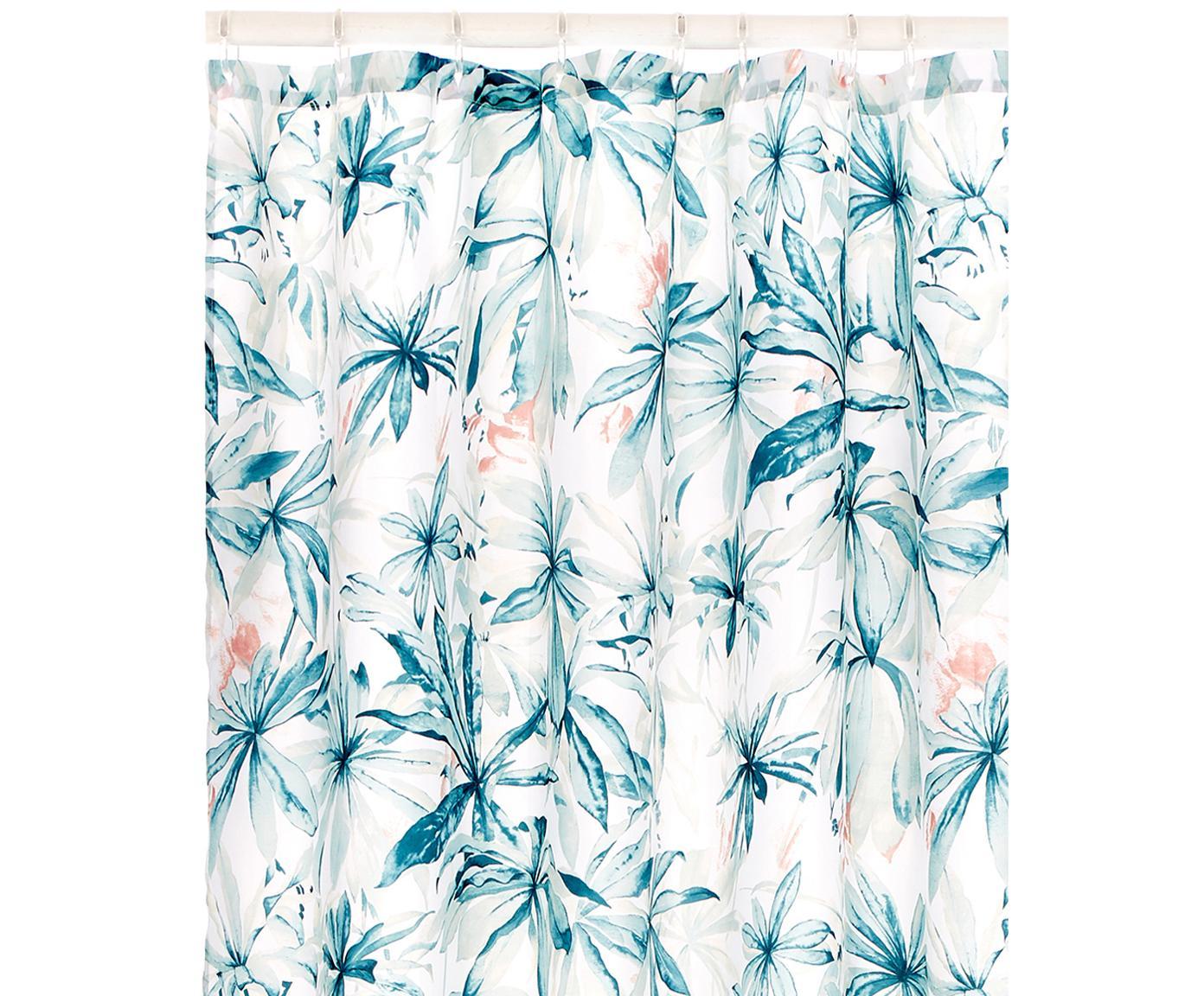 Tenda da doccia con fantasia tropicale Foglia, 100% poliestere Idrorepellente non impermeabile, Bianco, multicolore, Larg. 180 x Lung. 200 cm