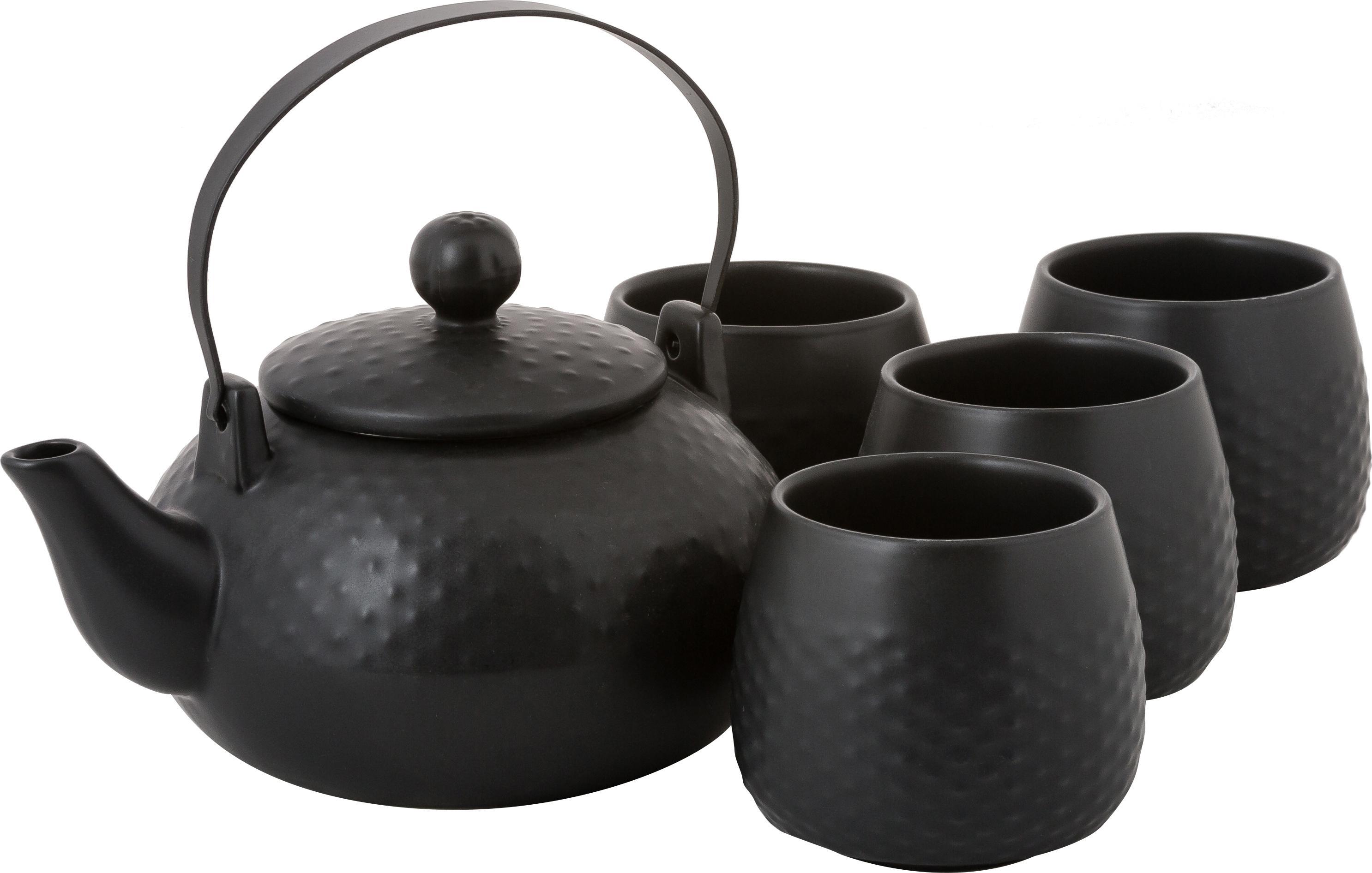 Theeserviesset Dots, 6-delig, Zwart, Set met verschillende formaten
