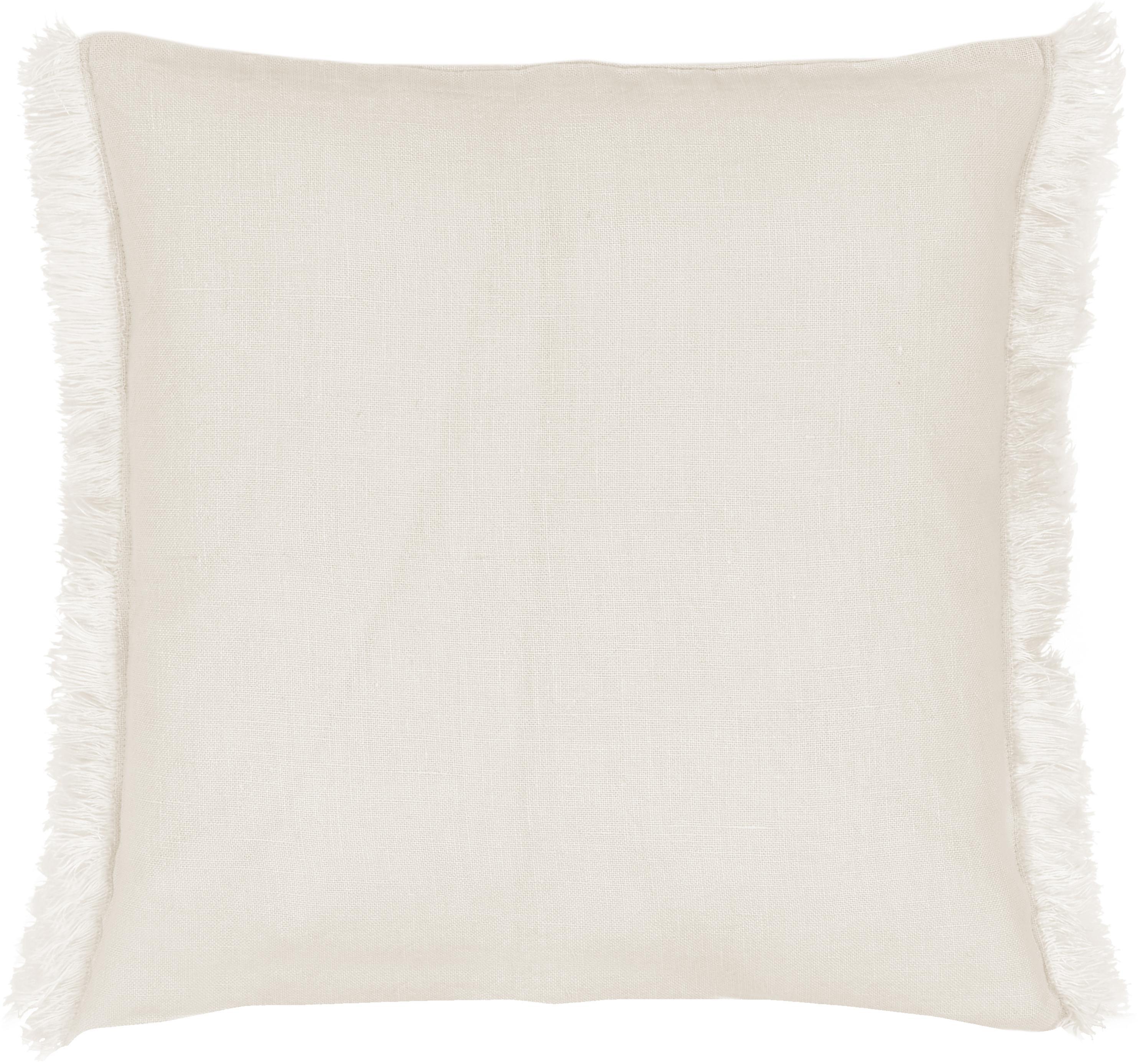 Poszewka na poduszkę z lnu z frędzlami Luana, 100% len, Beżowy, S 40 x D 40 cm