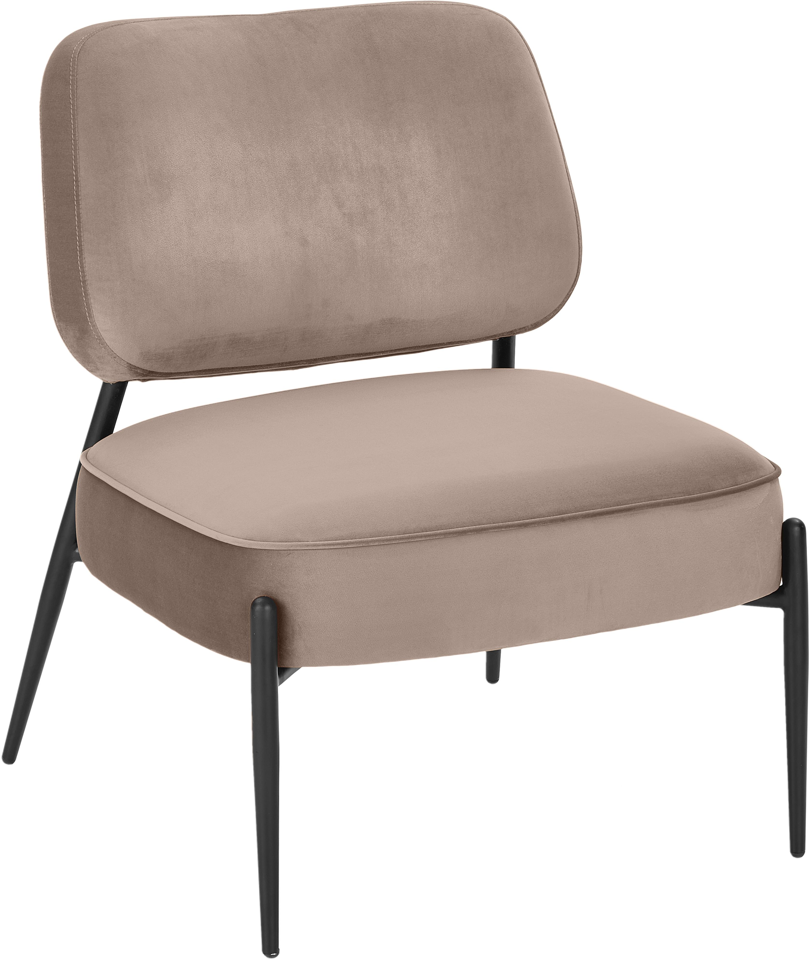 Samt-Loungesessel Viggo, Bezug: Samt (Polyester) 50.000 S, Beine: Metall, pulverbeschichtet, Samt Taupe, B 62 x T 67cm