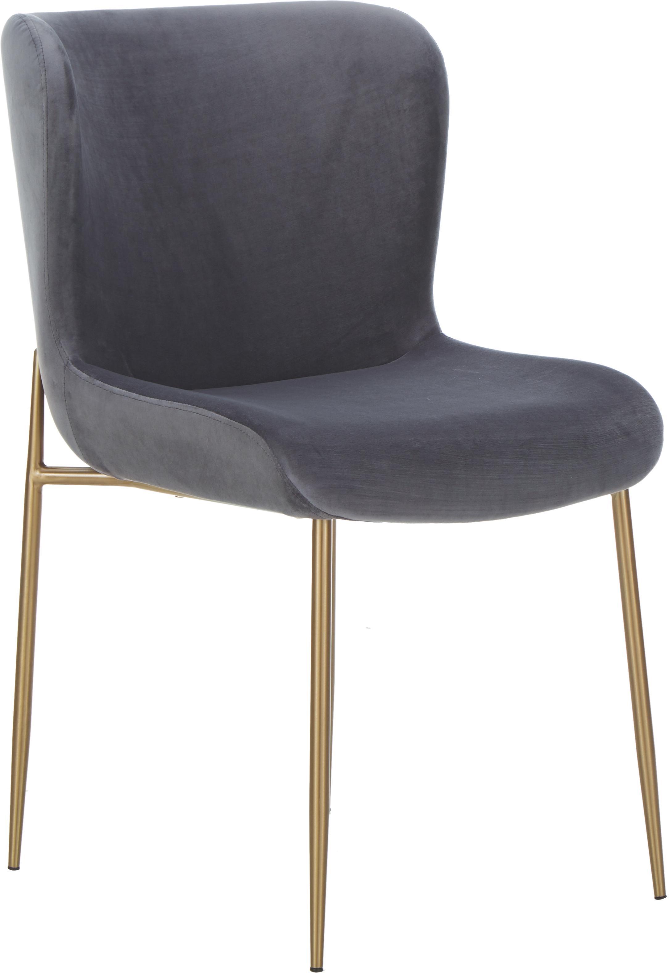 Fluwelen stoel Tess, Bekleding: fluweel (polyester) De be, Poten: gecoat metaal, Fluweel antraciet, poten goudkleurig, B 48 x D 64 cm