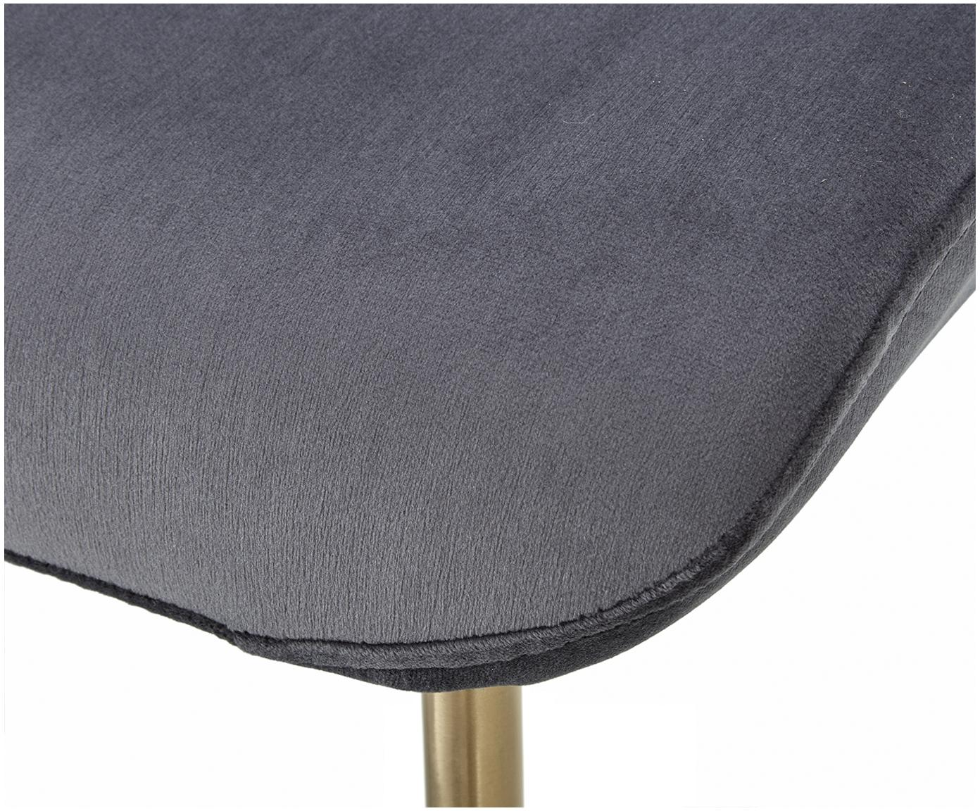 Chaise velours rembourré Tess, Velours anthracite, pieds or