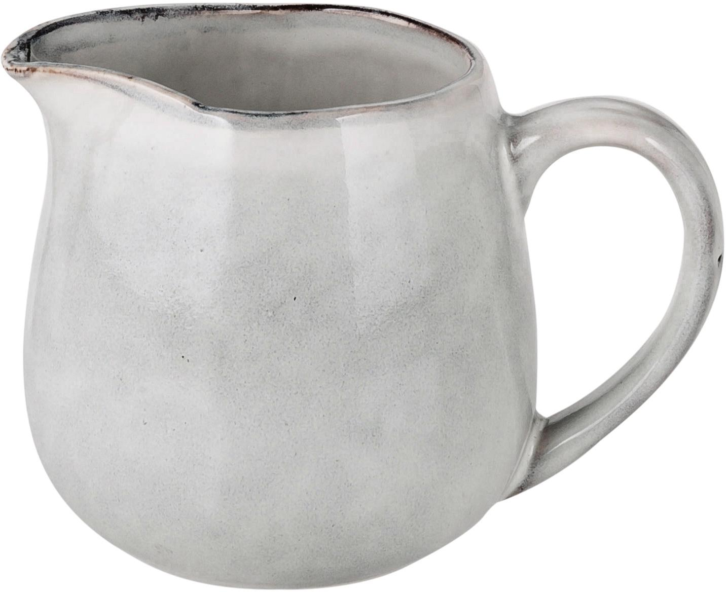 Ręcznie wykonany dzbanek do mleka z kamionki Nordic Sand, Kamionka, Piaskowy, Ø 12 x W 9 cm