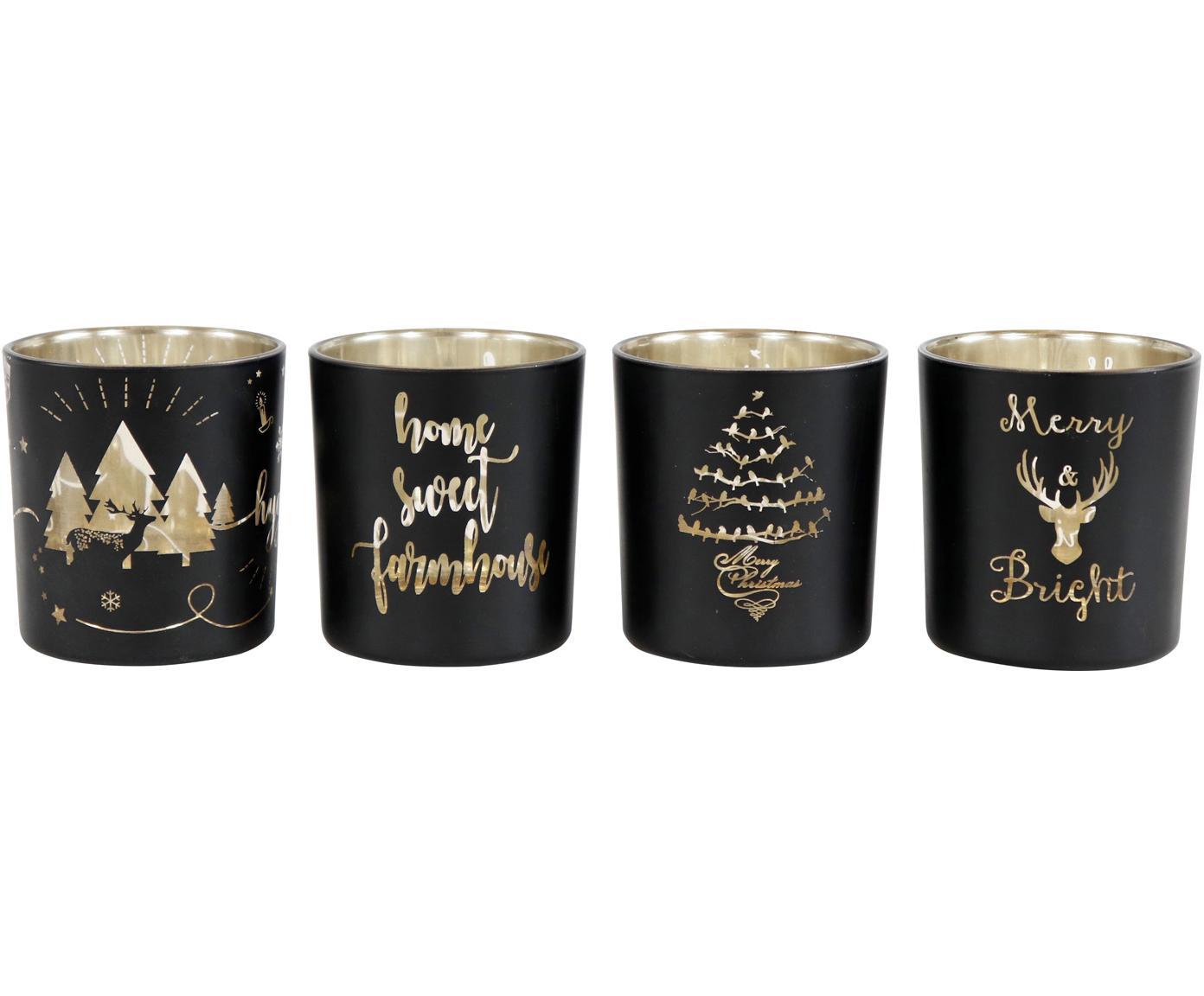 Windlichter-Set Merry&Bright, 4-tlg., Glas, Schwarz, Goldfarben, Ø 7 x H 8 cm