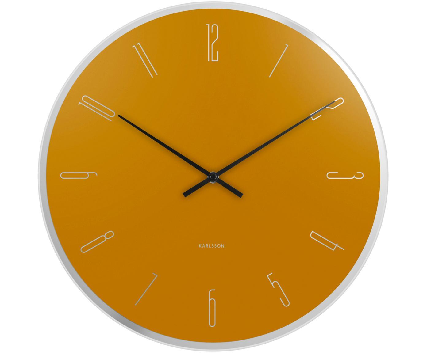 Zegar ścienny Mirror Numbers, Szkło, Żółty, odcienie srebrnego, czarny, Ø 40 cm